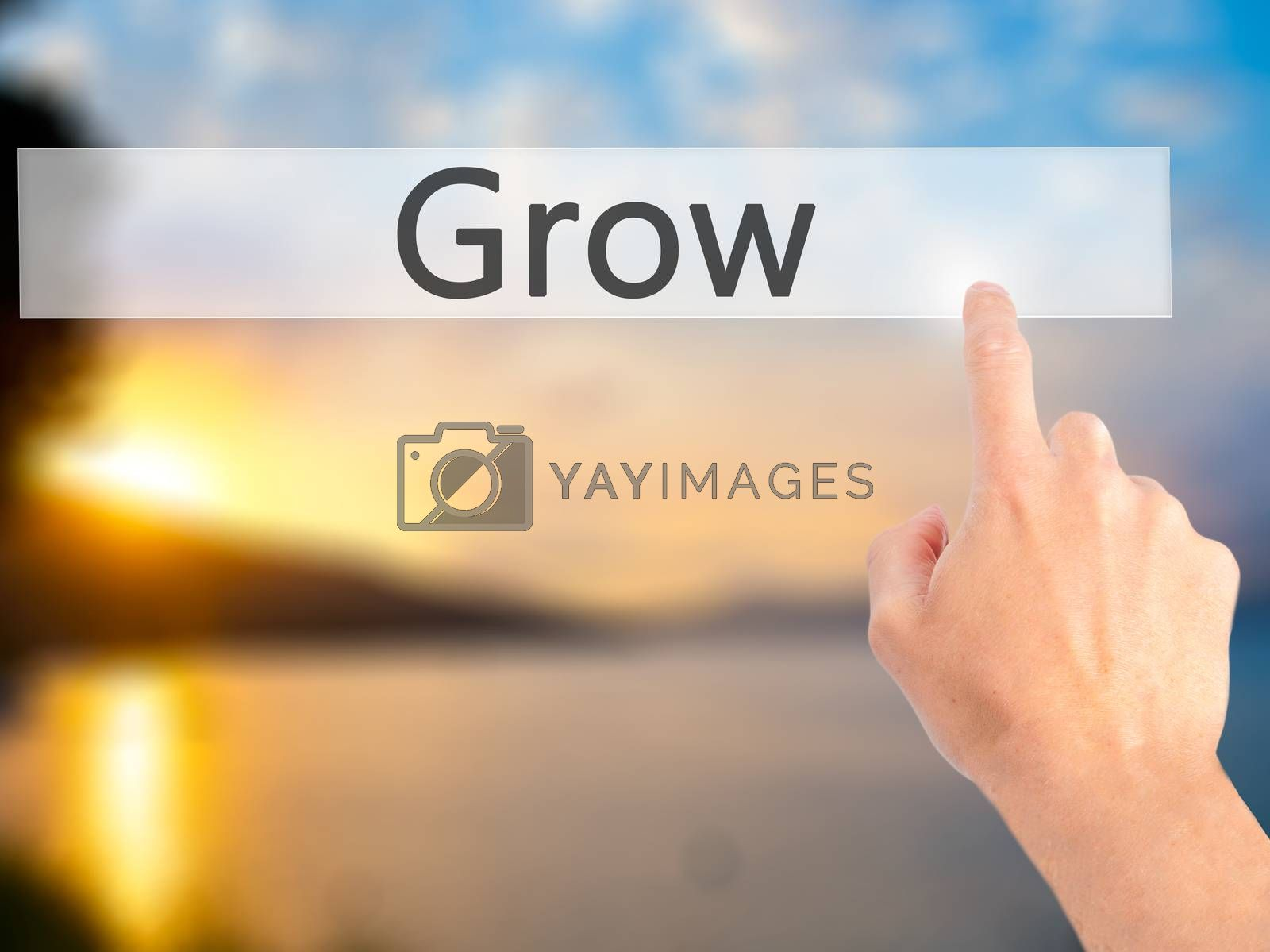 Grow - Hand pressing a button on blurred background concept on v by jackald