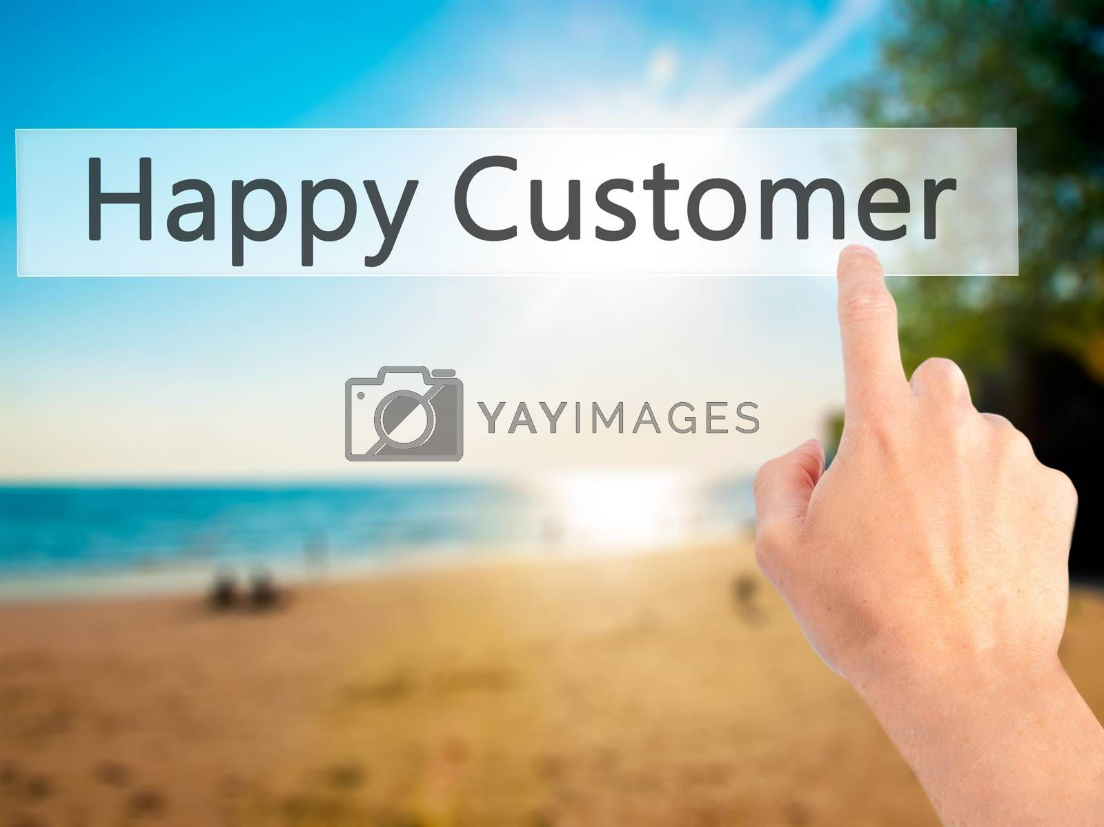 Happy Customer  - Hand pressing a button on blurred background c by jackald