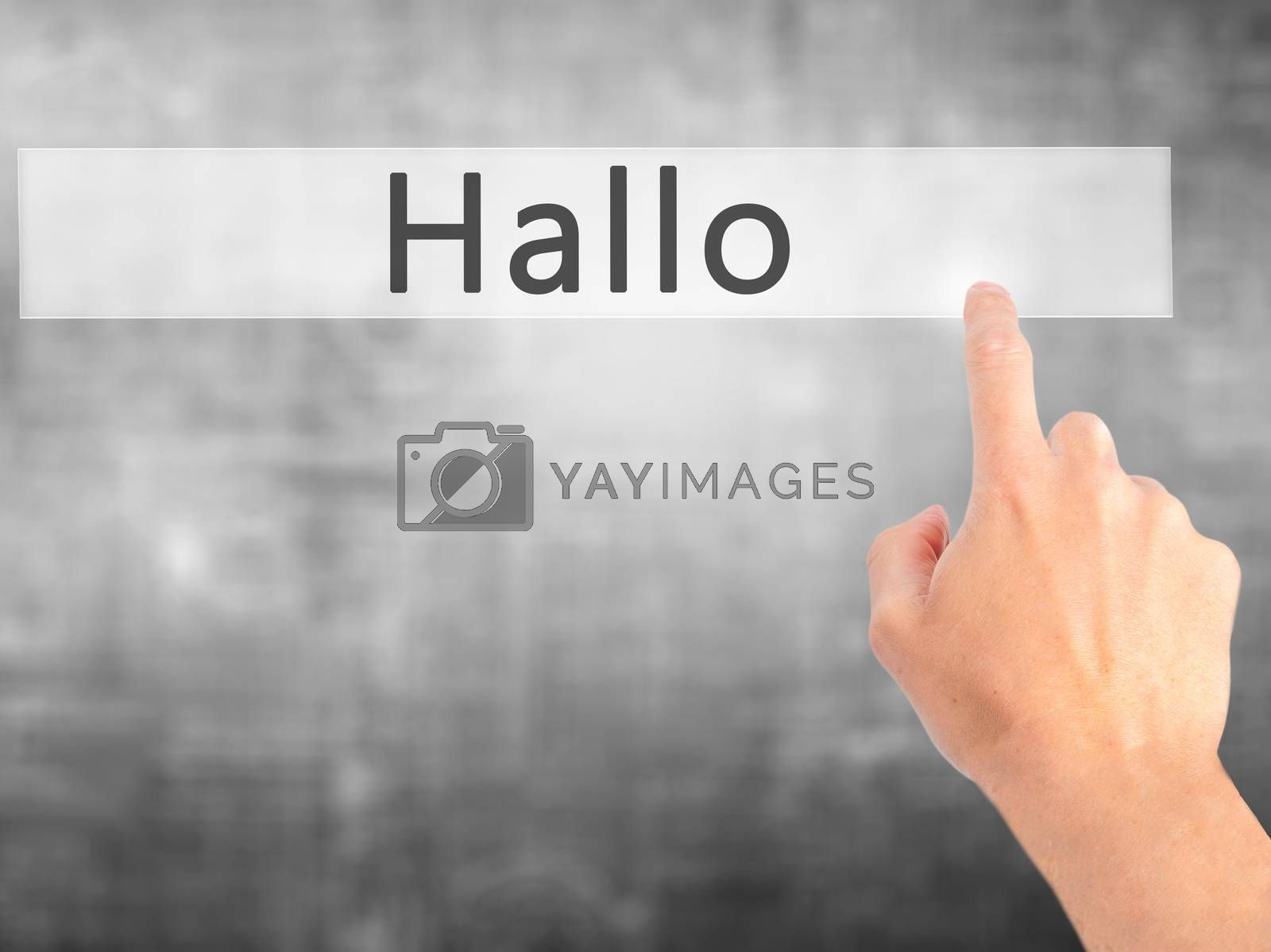 Hallo (Hello in German) - Hand pressing a button on blurred back by netsay.net