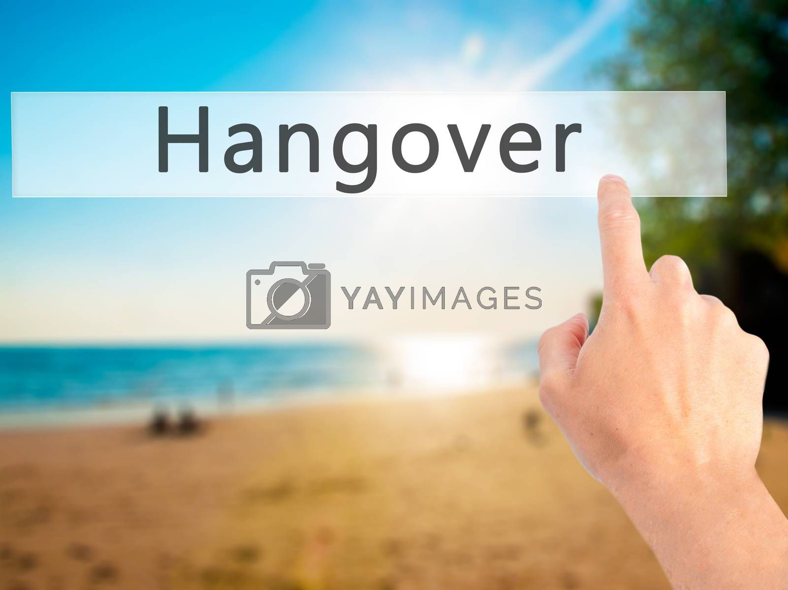 Hangover - Hand pressing a button on blurred background concept  by jackald