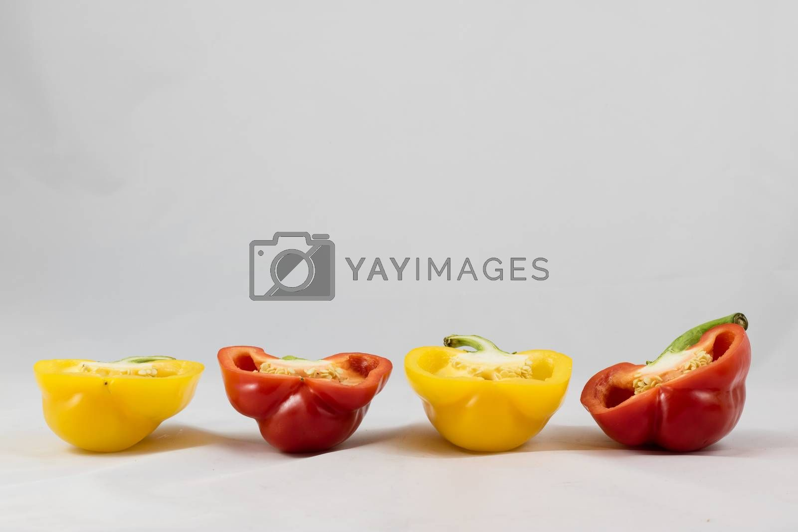 Tasty and delicious red and yellow peppers by wytrazek