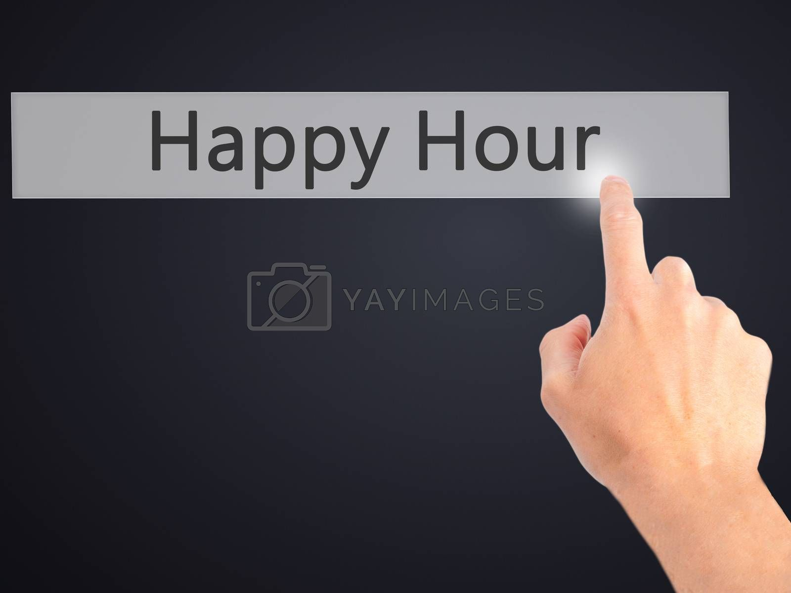 Happy Hour  - Hand pressing a button on blurred background conce by netsay.net