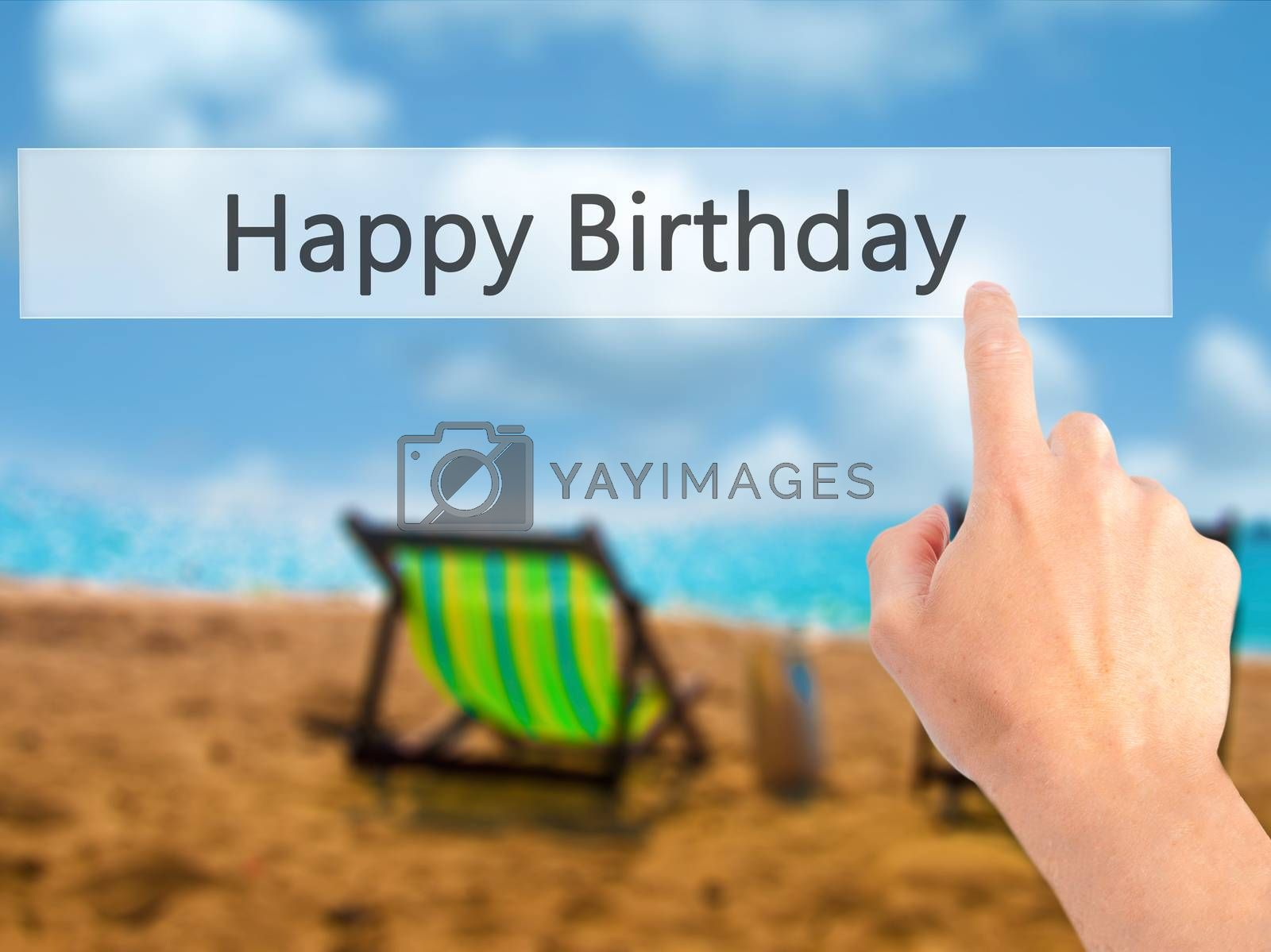 Happy Birthday - Hand pressing a button on blurred background co by jackald