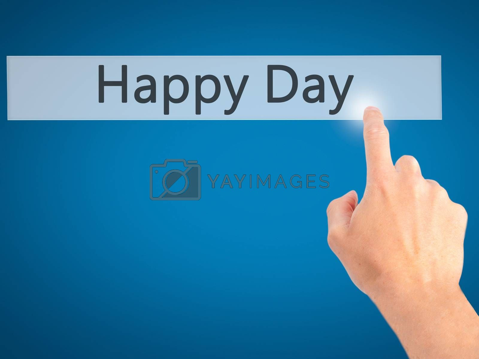 Happy Day - Hand pressing a button on blurred background concept by netsay.net