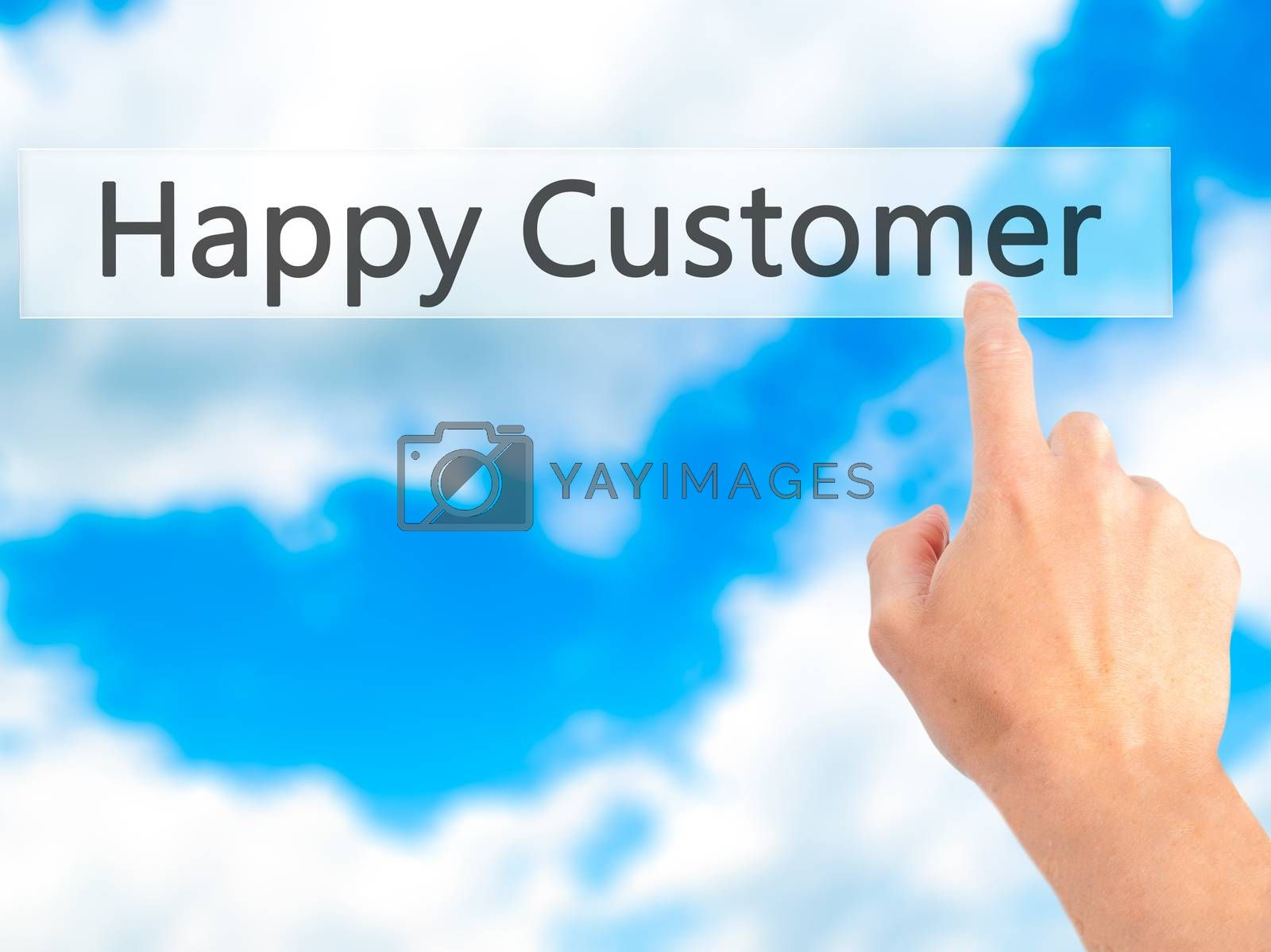 Happy Customer  - Hand pressing a button on blurred background c by netsay.net
