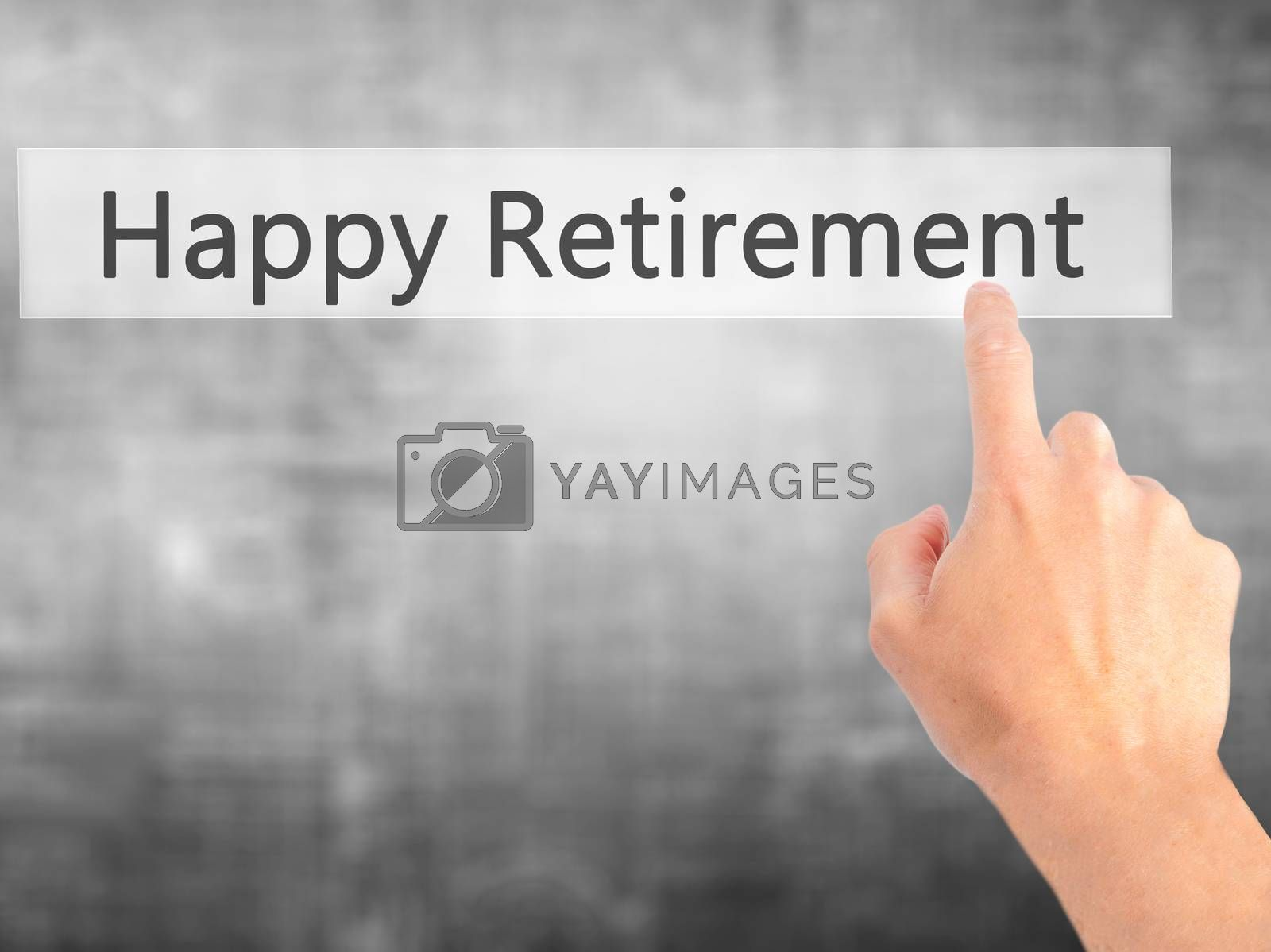Happy Retirement - Hand pressing a button on blurred background  by jackald