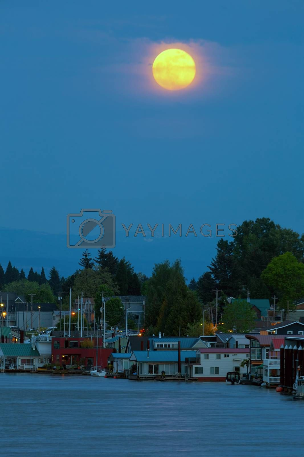 Full Moon Over Floating Homes on Columbia River by Davidgn