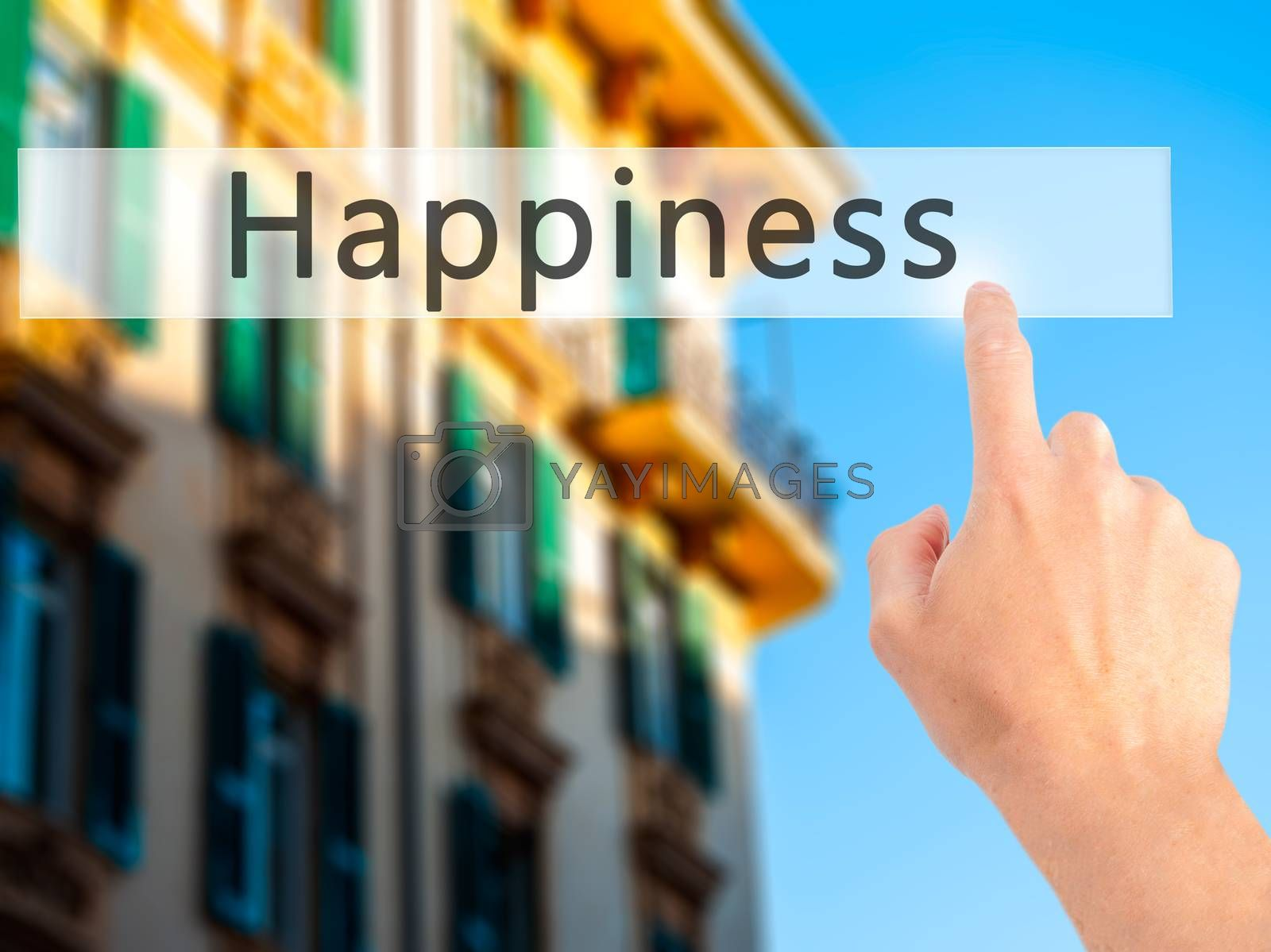 Happiness - Hand pressing a button on blurred background concept by netsay.net