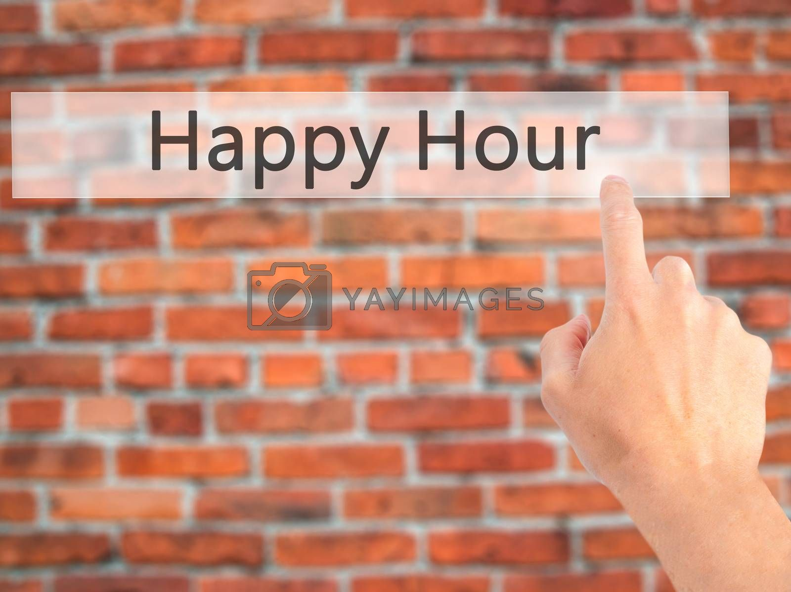 Happy Hour  - Hand pressing a button on blurred background conce by jackald
