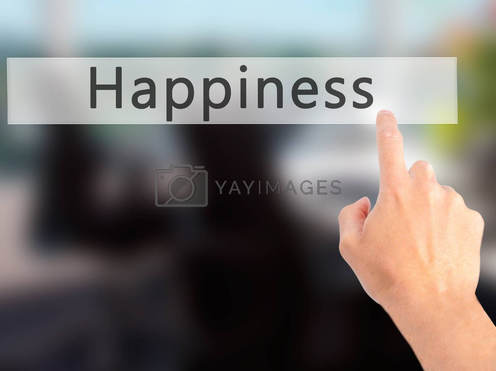 Happiness - Hand pressing a button on blurred background concept by jackald
