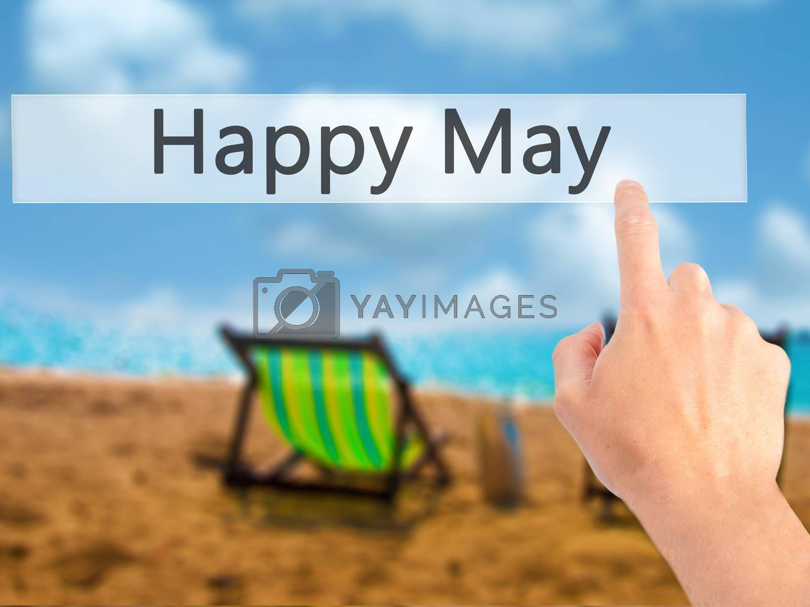 Happy May - Hand pressing a button on blurred background concept by netsay.net