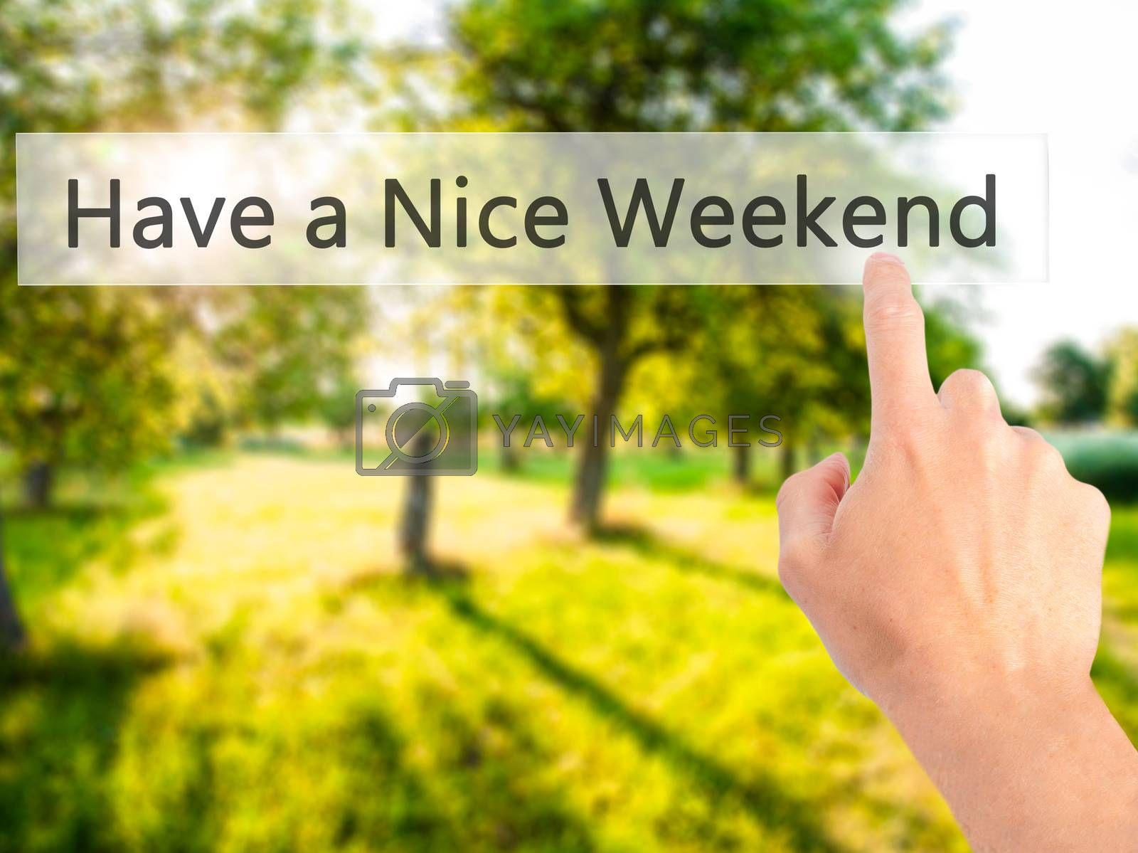 Have a Nice Weekend - Hand pressing a button on blurred backgrou by netsay.net