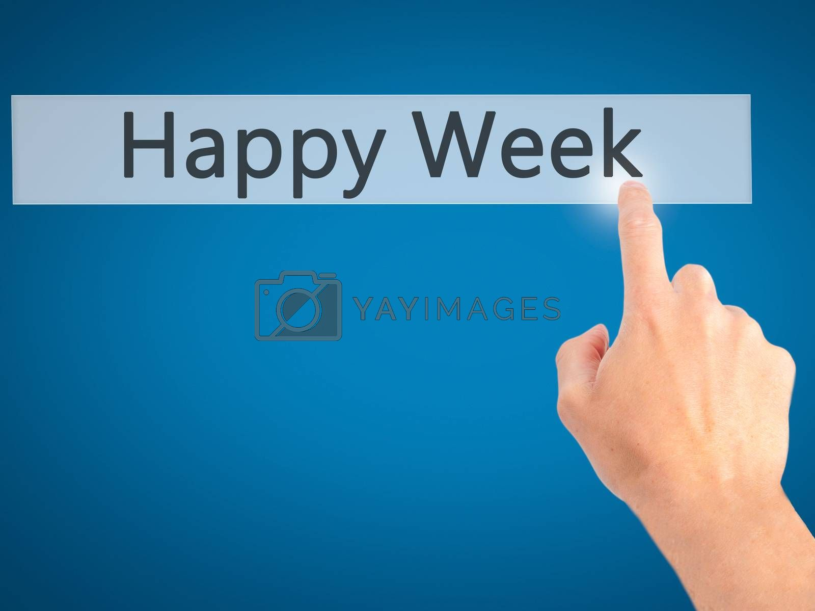 Happy Week - Hand pressing a button on blurred background concep by jackald