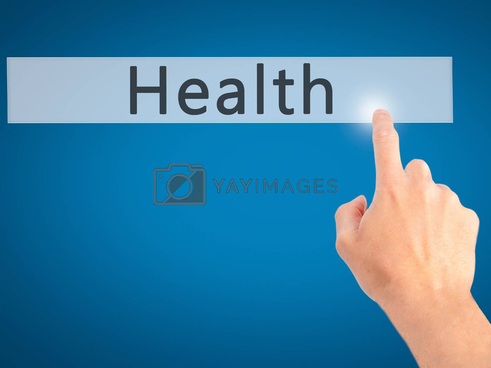 Health - Hand pressing a button on blurred background concept .  by jackald