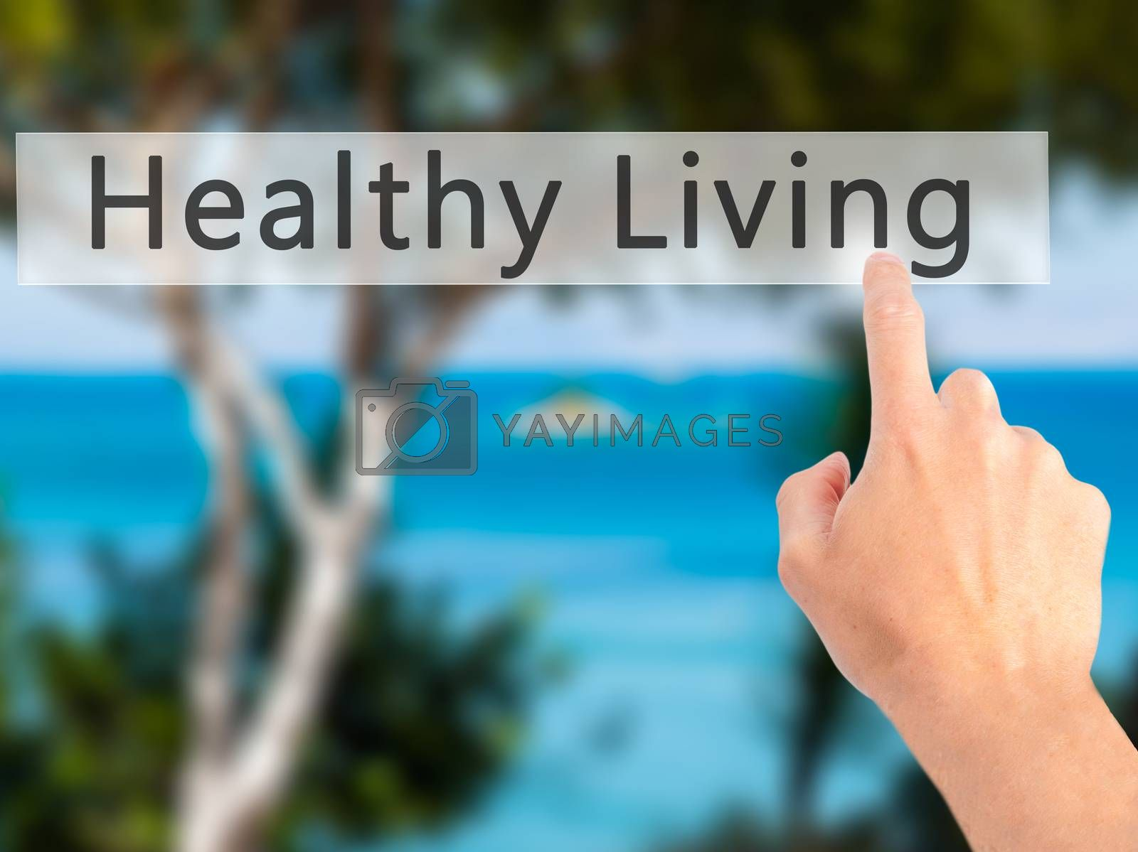 Healthy Living - Hand pressing a button on blurred background co by jackald