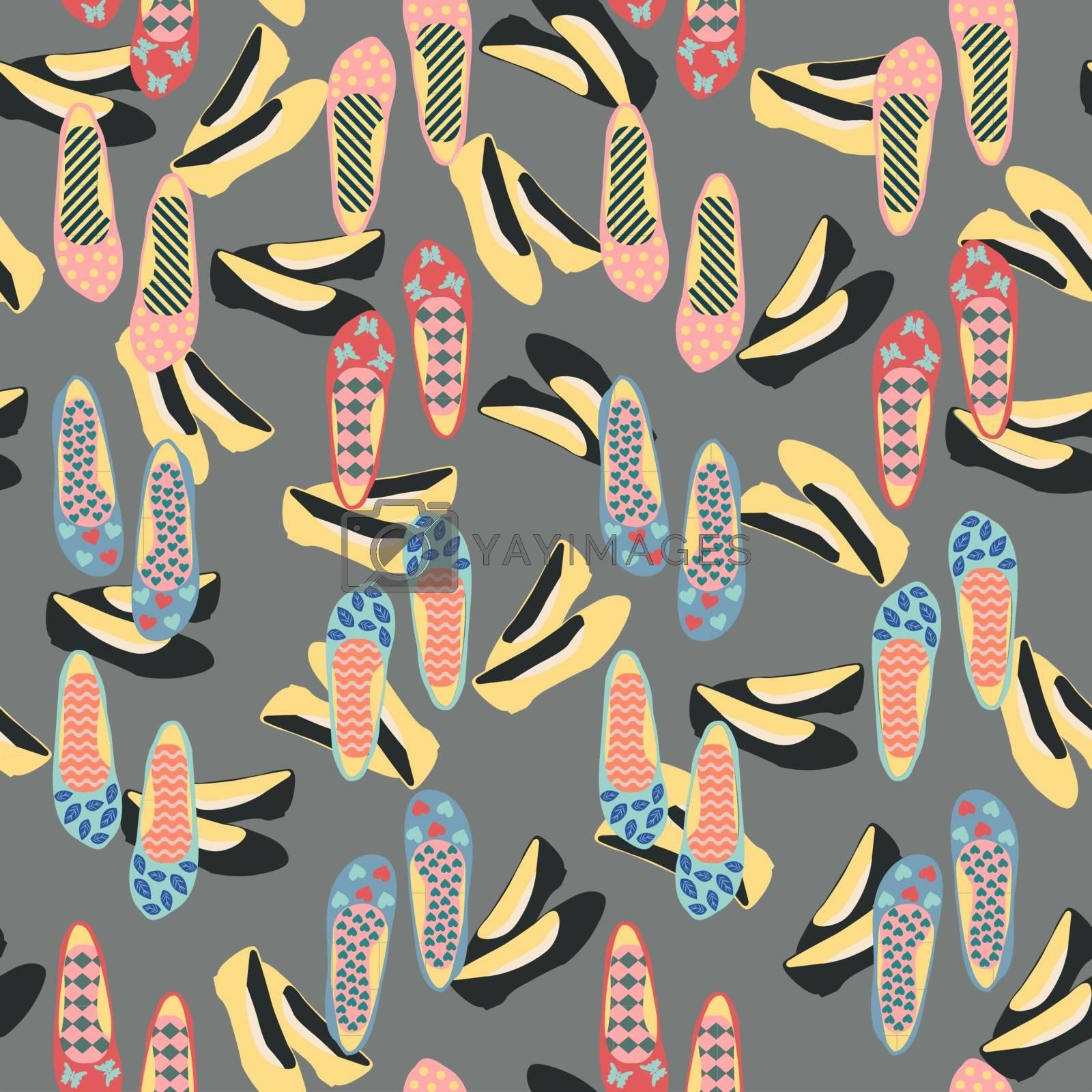Vector pattern  of fashion vintage shoes, fashion beautiful background illustration