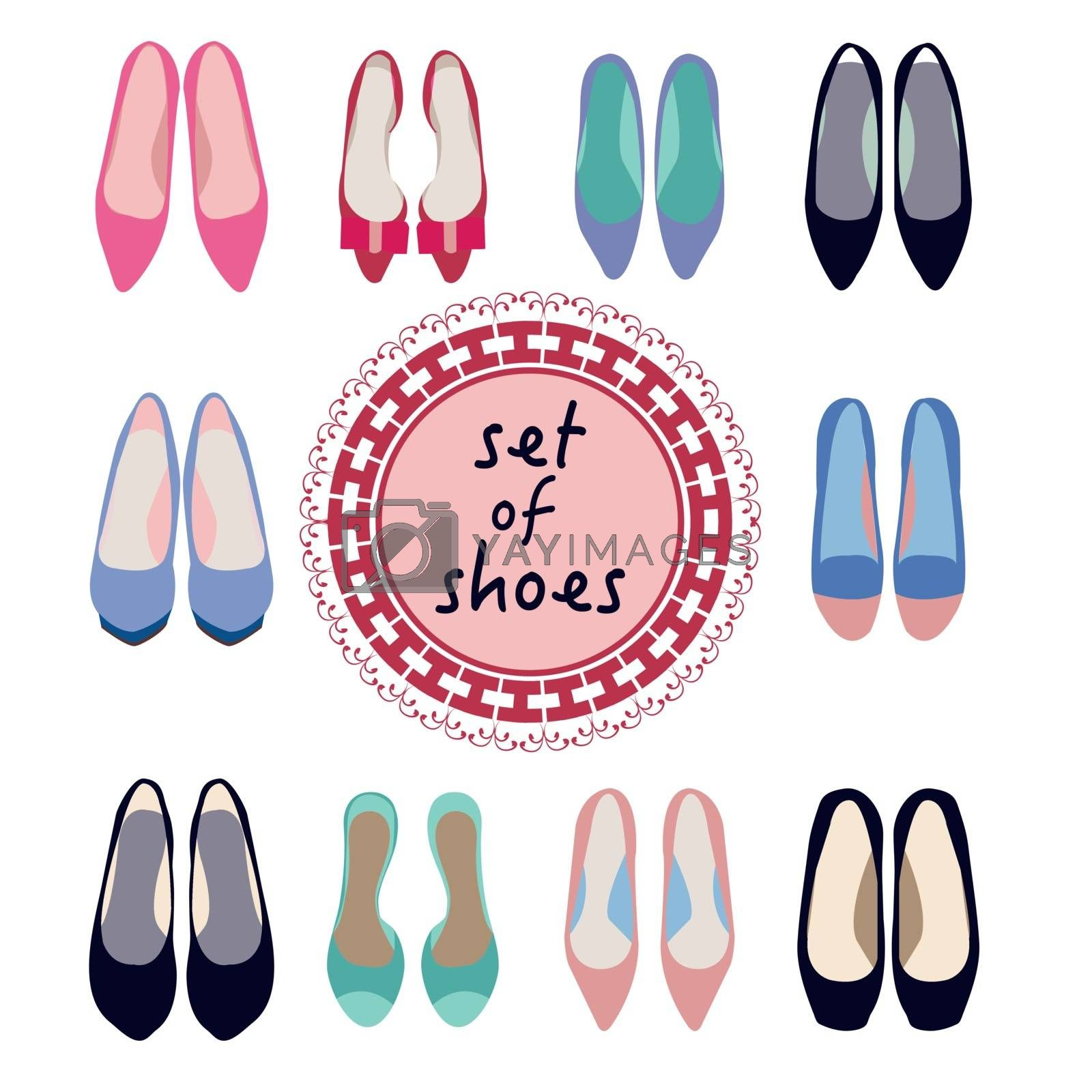 Vector set of different models of women shoes in Different trendy Color illustration.