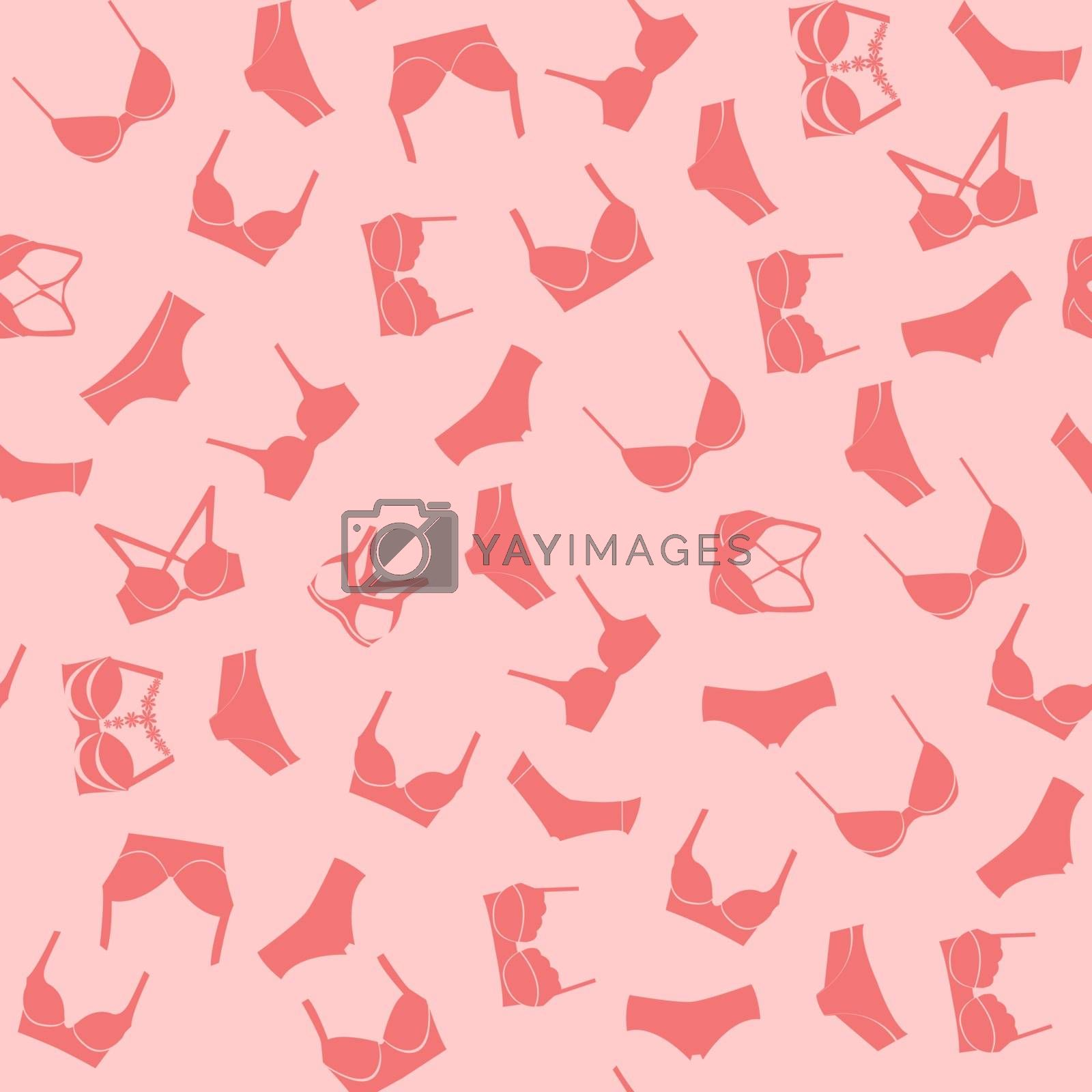 Shopping Background  of fashion women's underwear pattern, pants and bra vector Illustration