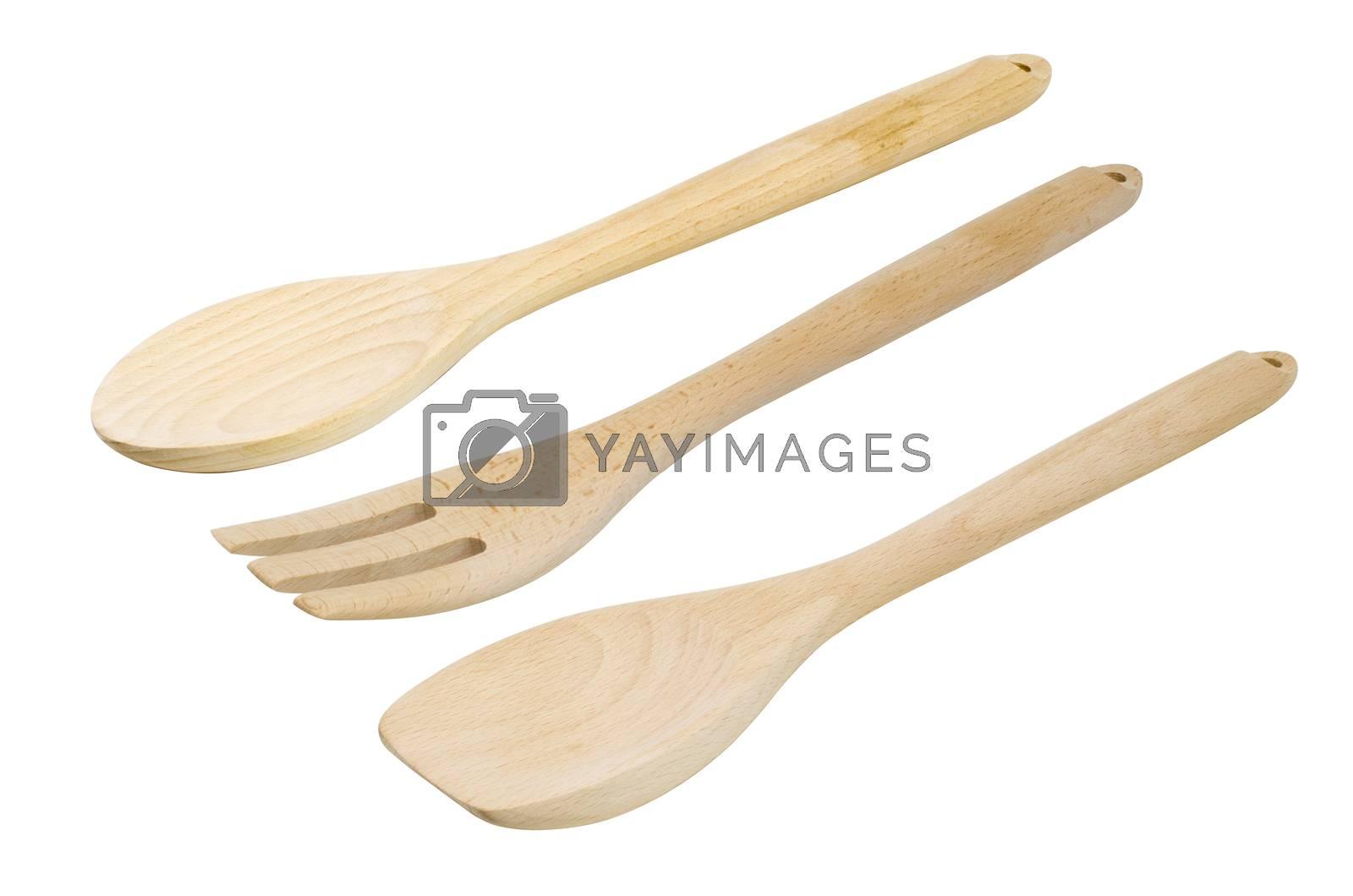Wooden kitchen utensils set, isolated on white background