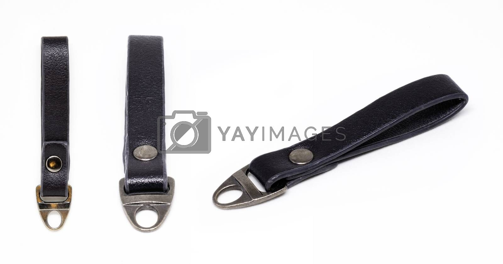 Leather keychain on a white background