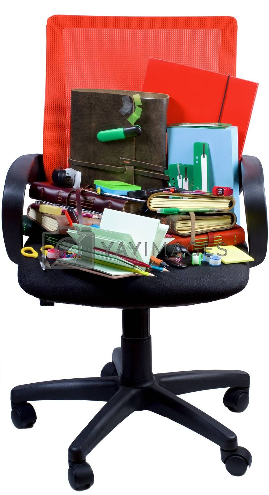 Office Suppliers Concept with Various Stationery Items and Notepads into Orange Office Chair isolated on White background