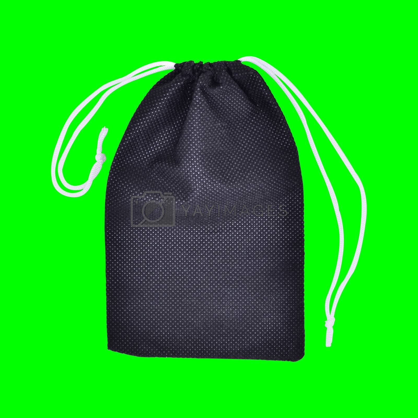 Black Bags White Rope Fabric on green screen