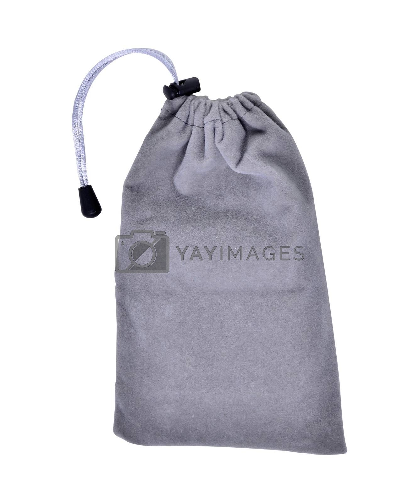Grey Bags White Rope Fabric Isolated on White Background Clipping Path