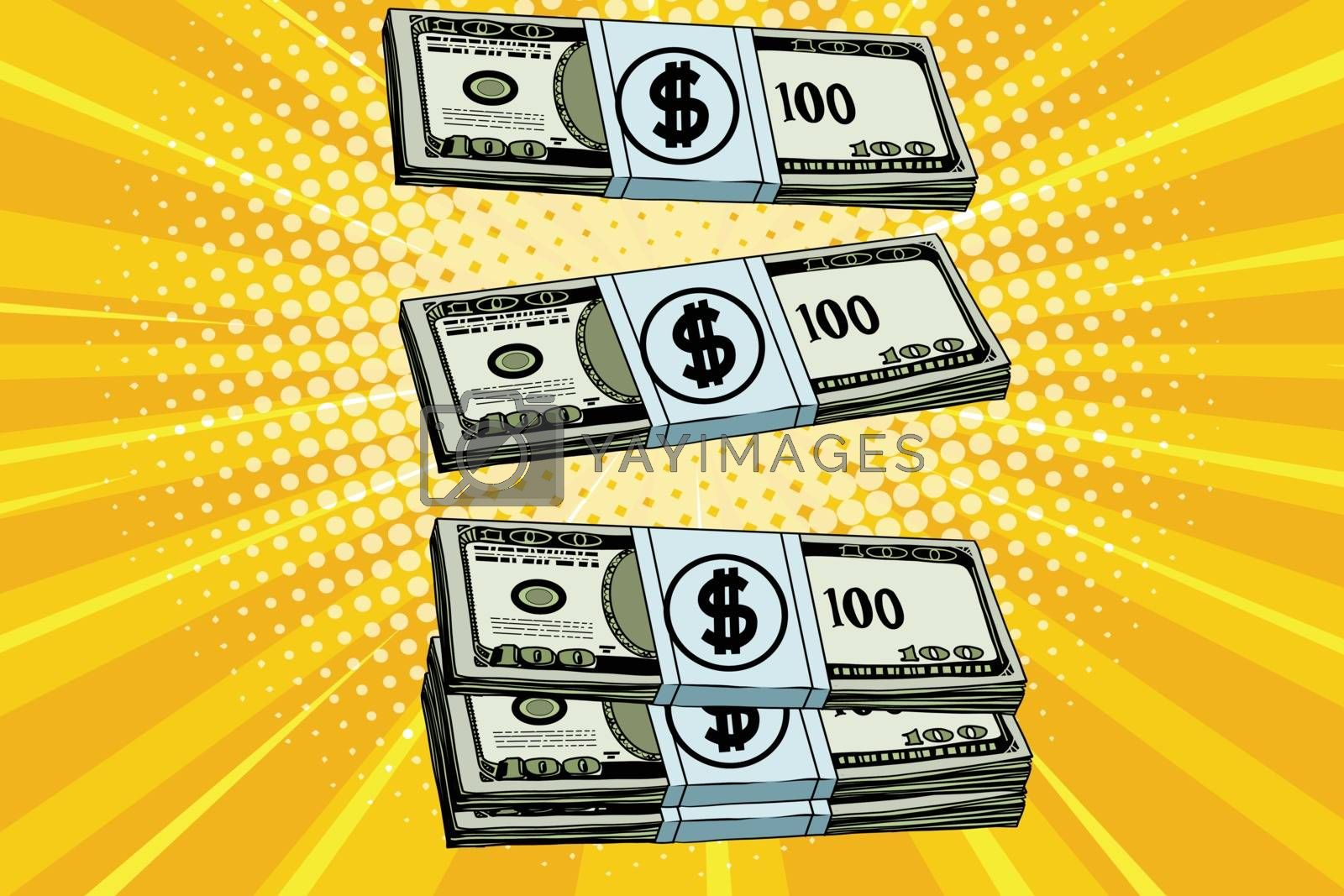 Packs of dollars money, pop art retro vector illustration