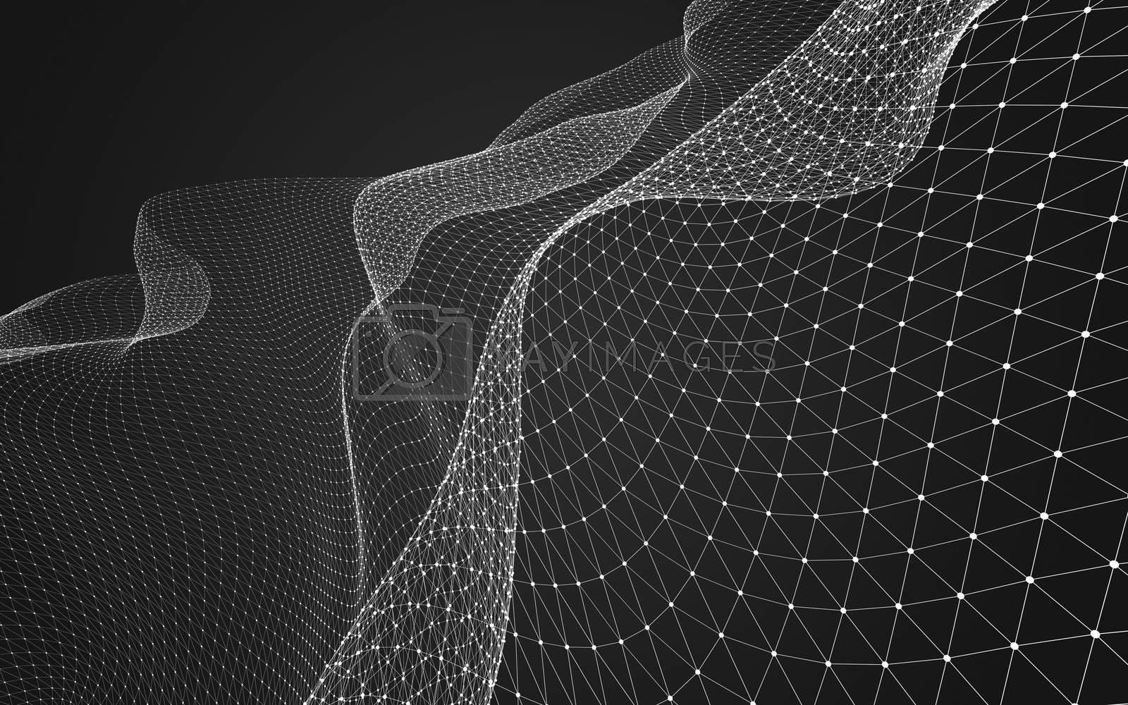 Abstract polygonal space low poly dark background, 3d rendering by teerawit