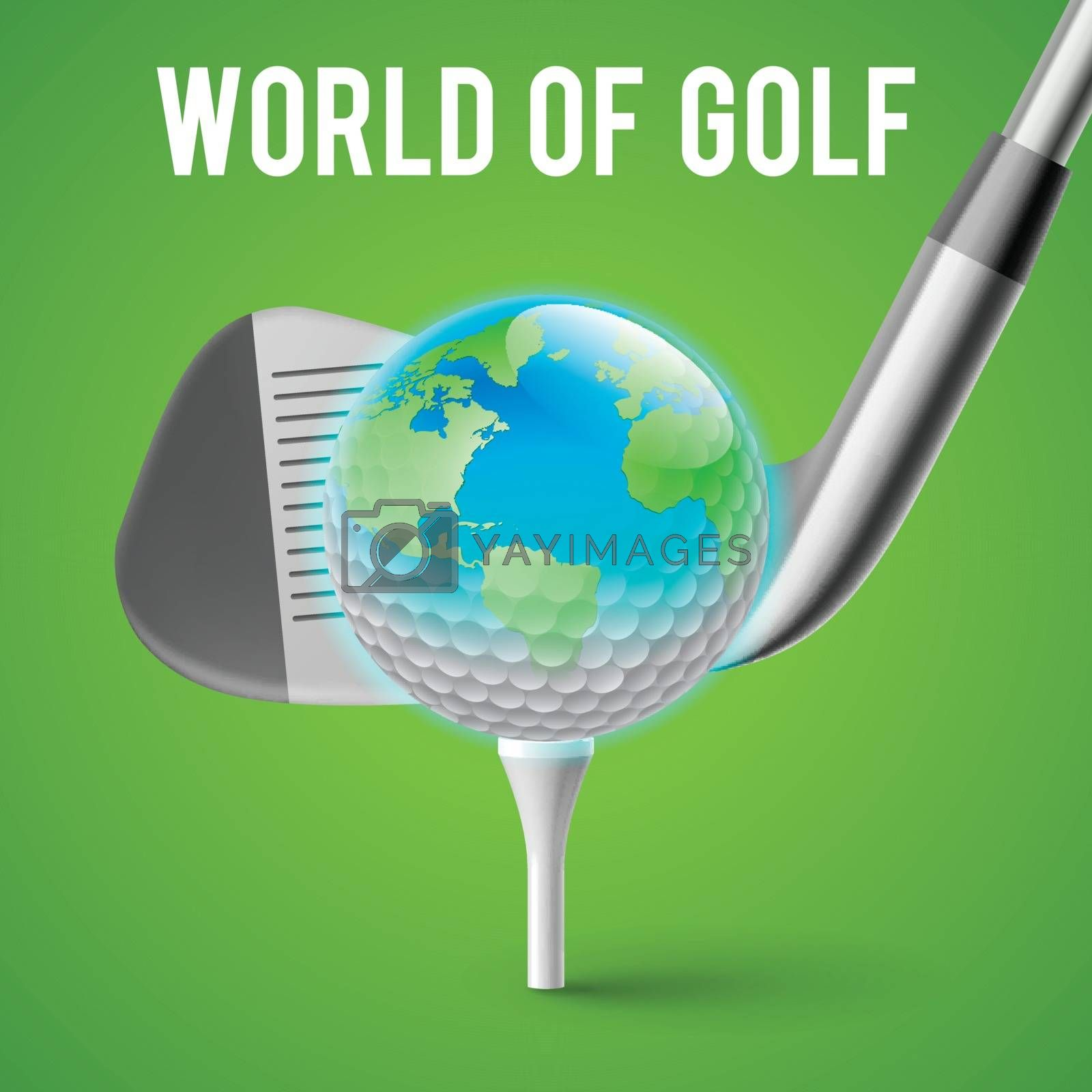 Concept Golf Tournament World. Illustration on Green Background