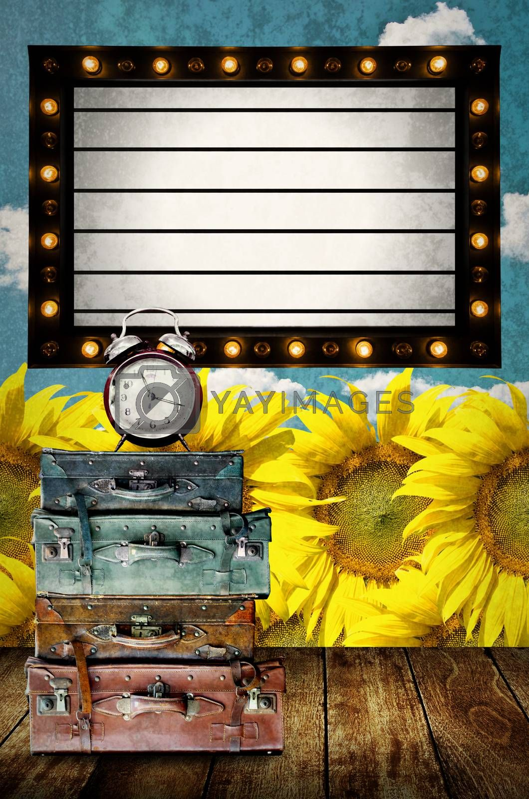 Vintage Light box program board with vintage travel bag and clock at sunflower farm