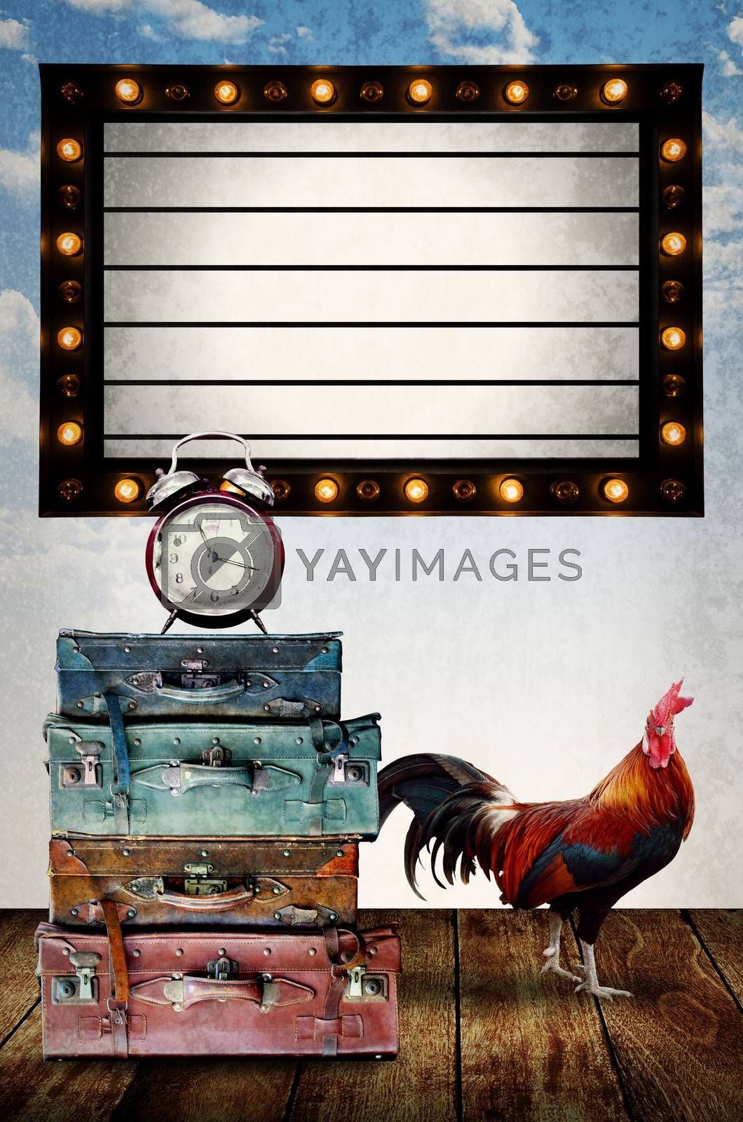 Vintage Light box program board with retro bag and chicken