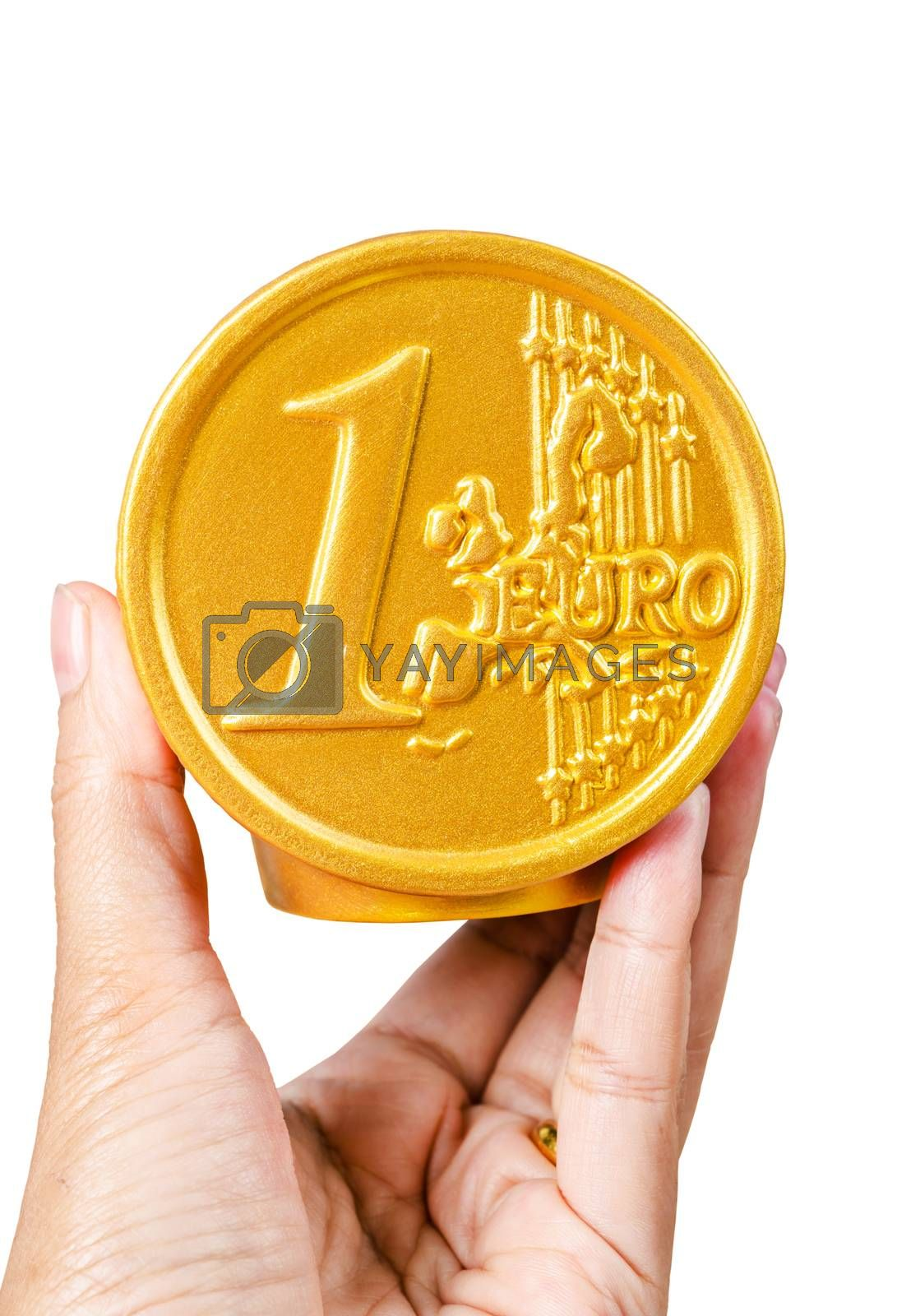 Hand hold Euro coin safe money box isolated on white background, Clipping path.
