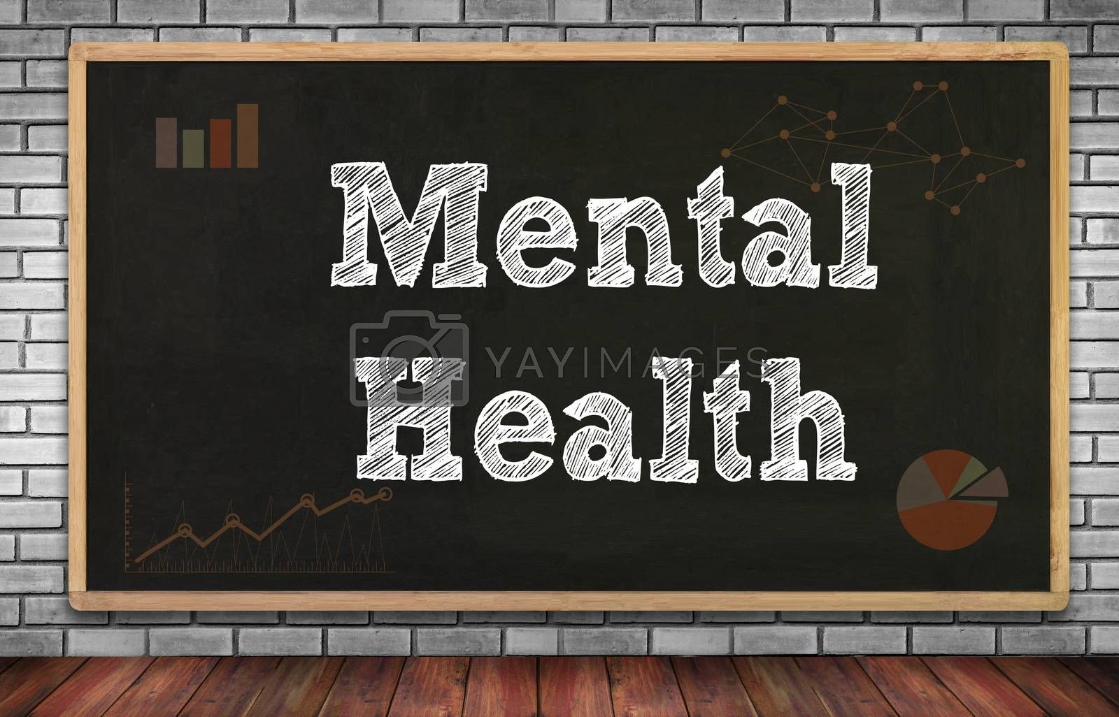 Mental Health on brick wall and chalkboard background