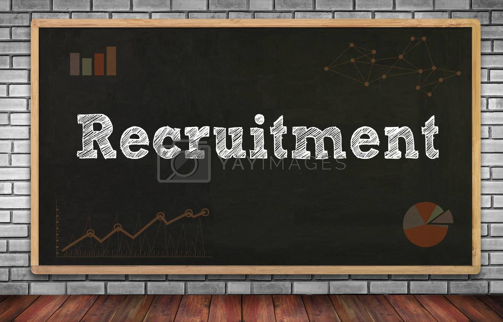 Recruitment on brick wall and chalkboard background
