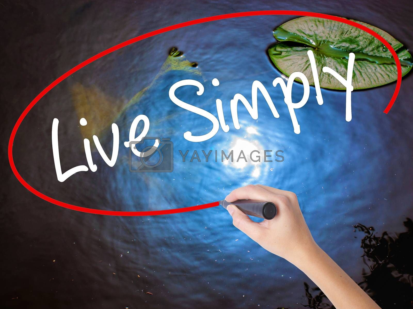 Woman Hand Writing Live Simply with marker over transparent board. Isolated on nature. Business concept. Stock Photo