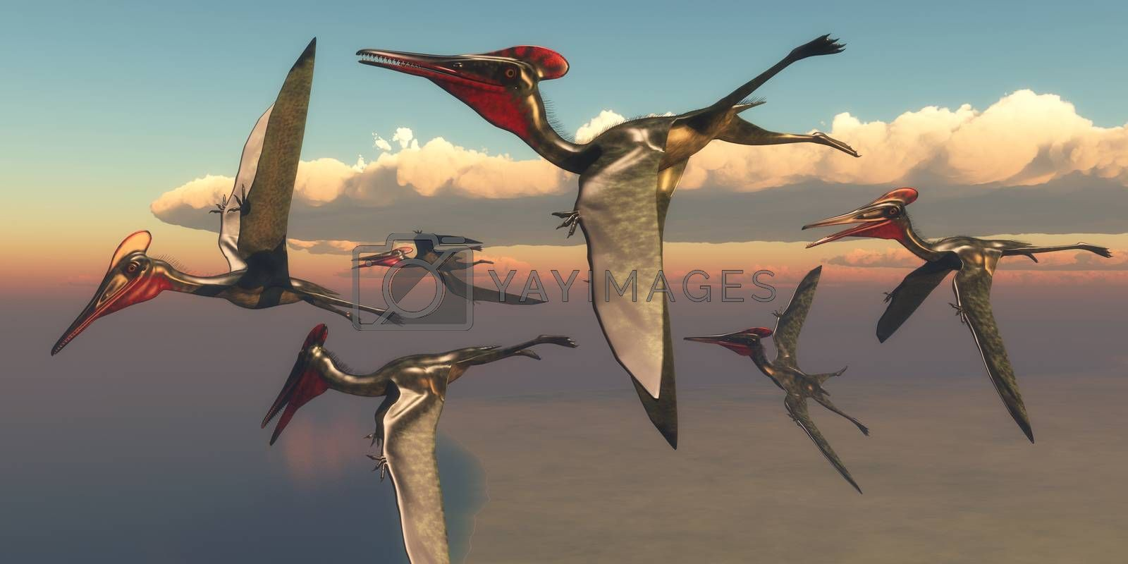 A flock of Pterodactylus Pterosaurs fly out to the ocean to hunt for fish in the Jurassic Period.