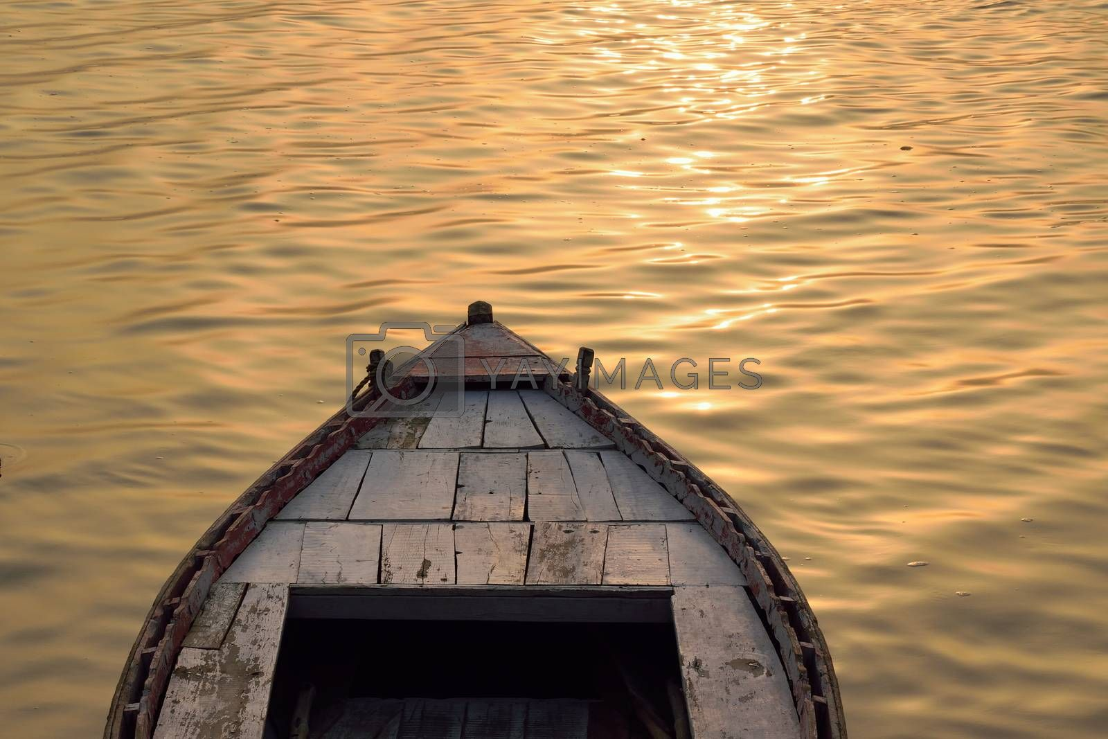 Travel Background Boat Ride at Ganges river in Varanasi, India in horizontal frame
