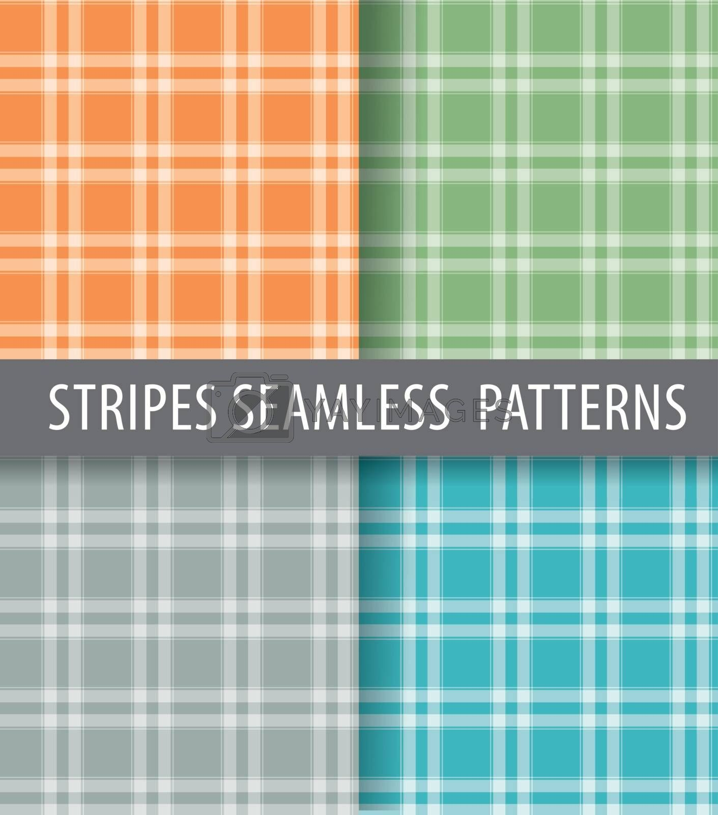 illustration of different color seamless patterns backgrounds