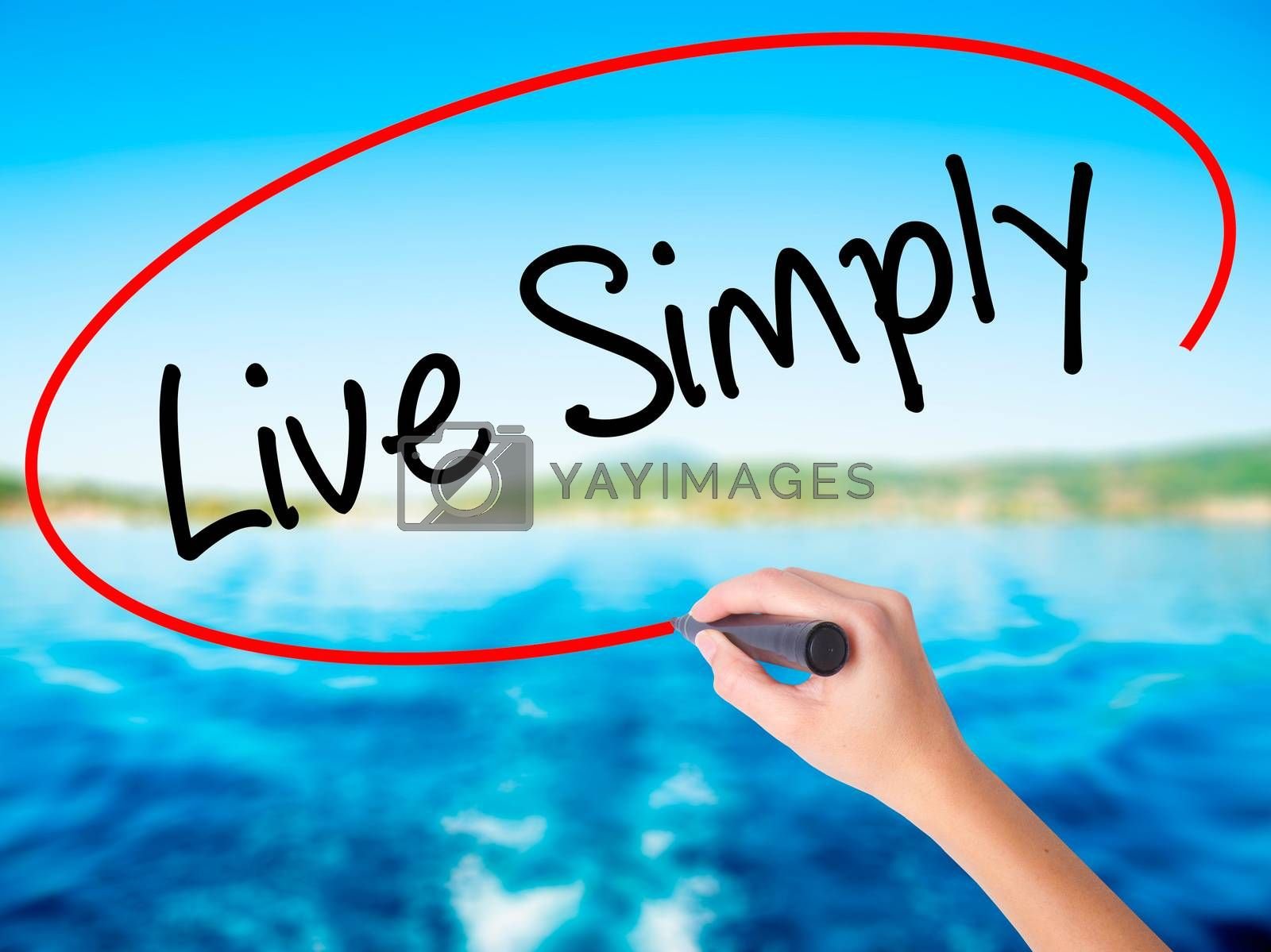 Woman Hand Writing Live Simply on blank transparent board with a marker isolated over water background. Business concept. Stock Photo