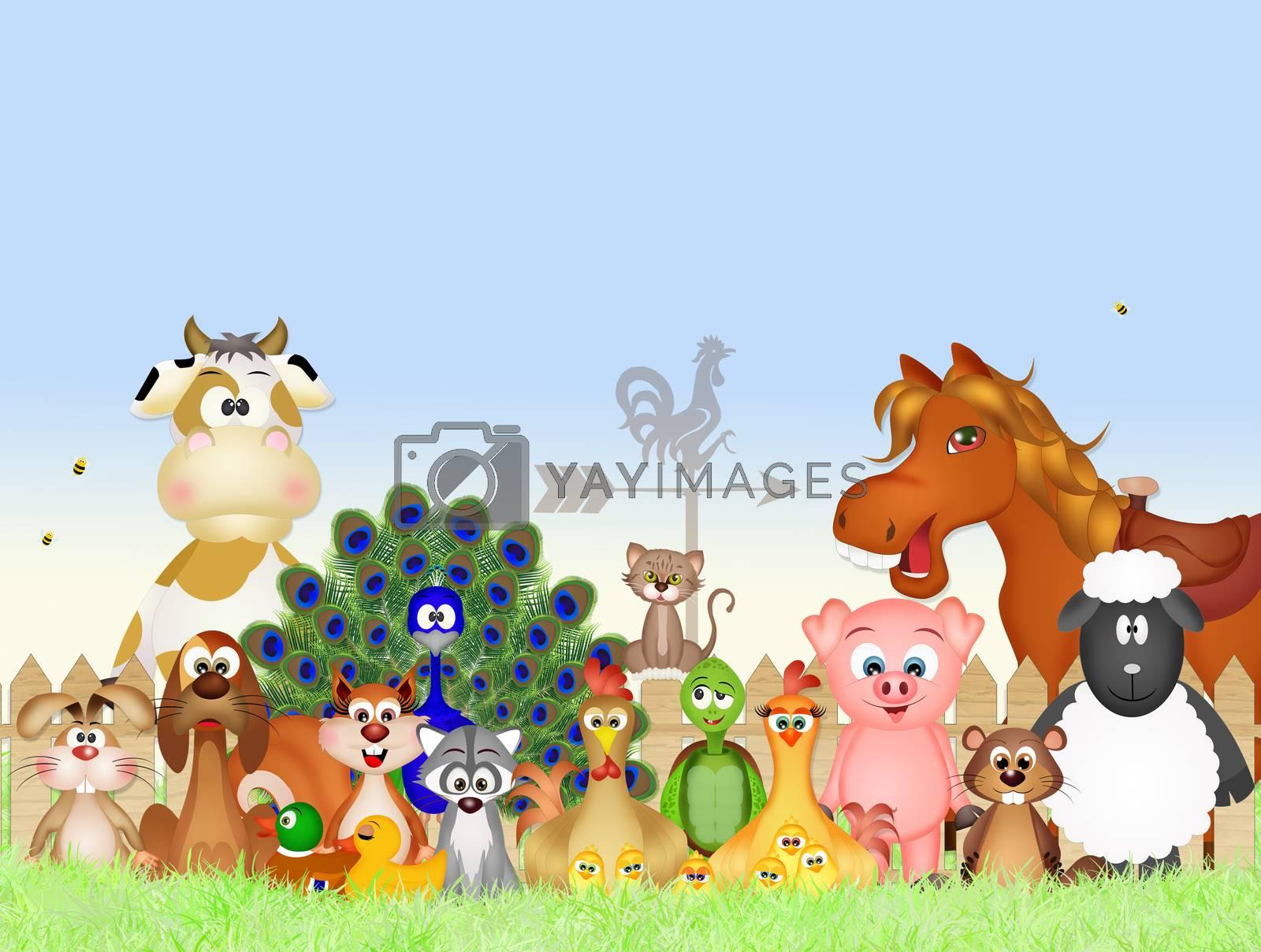 illustration of farm animals