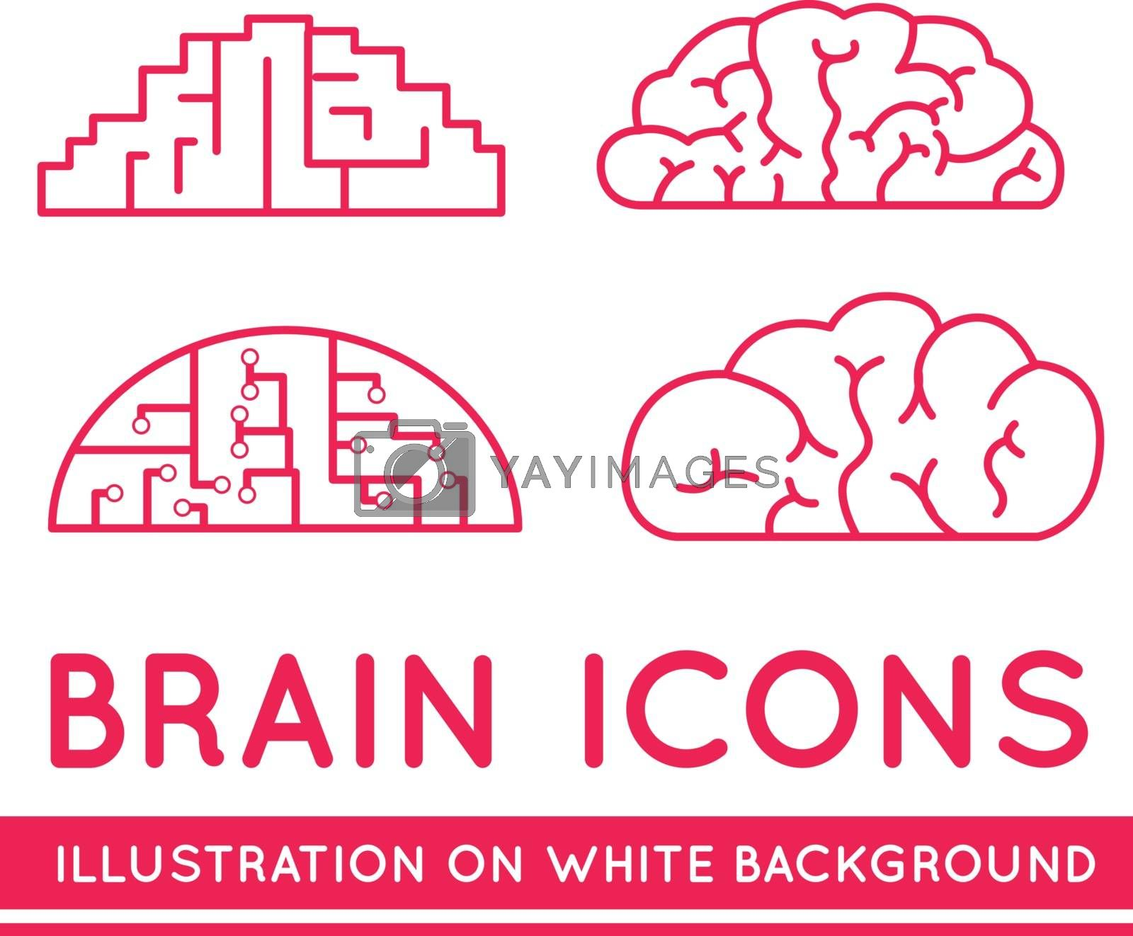 Icons of brains in different styles. Vector illustration on white background