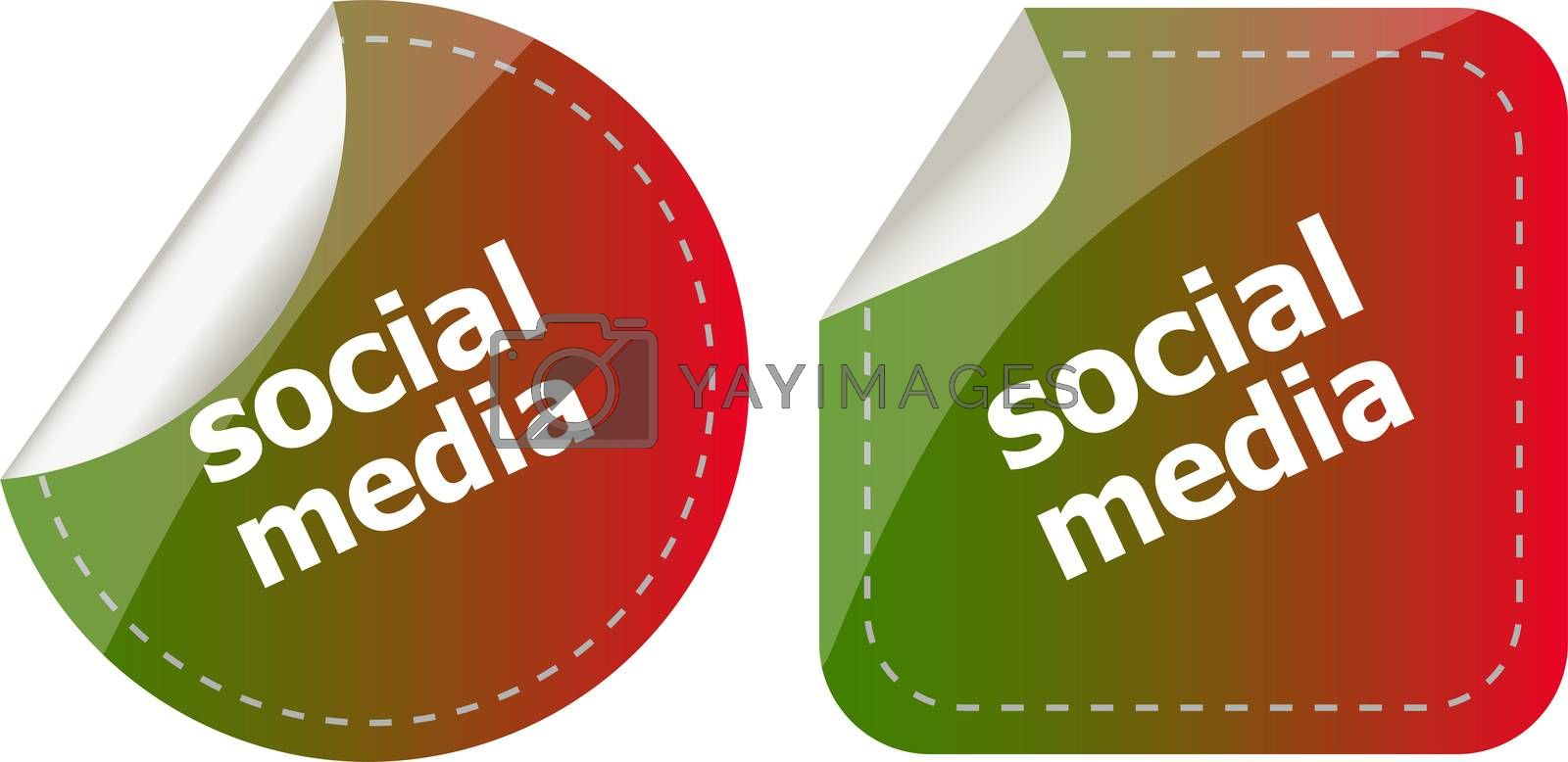 social media stickers set isolated on white