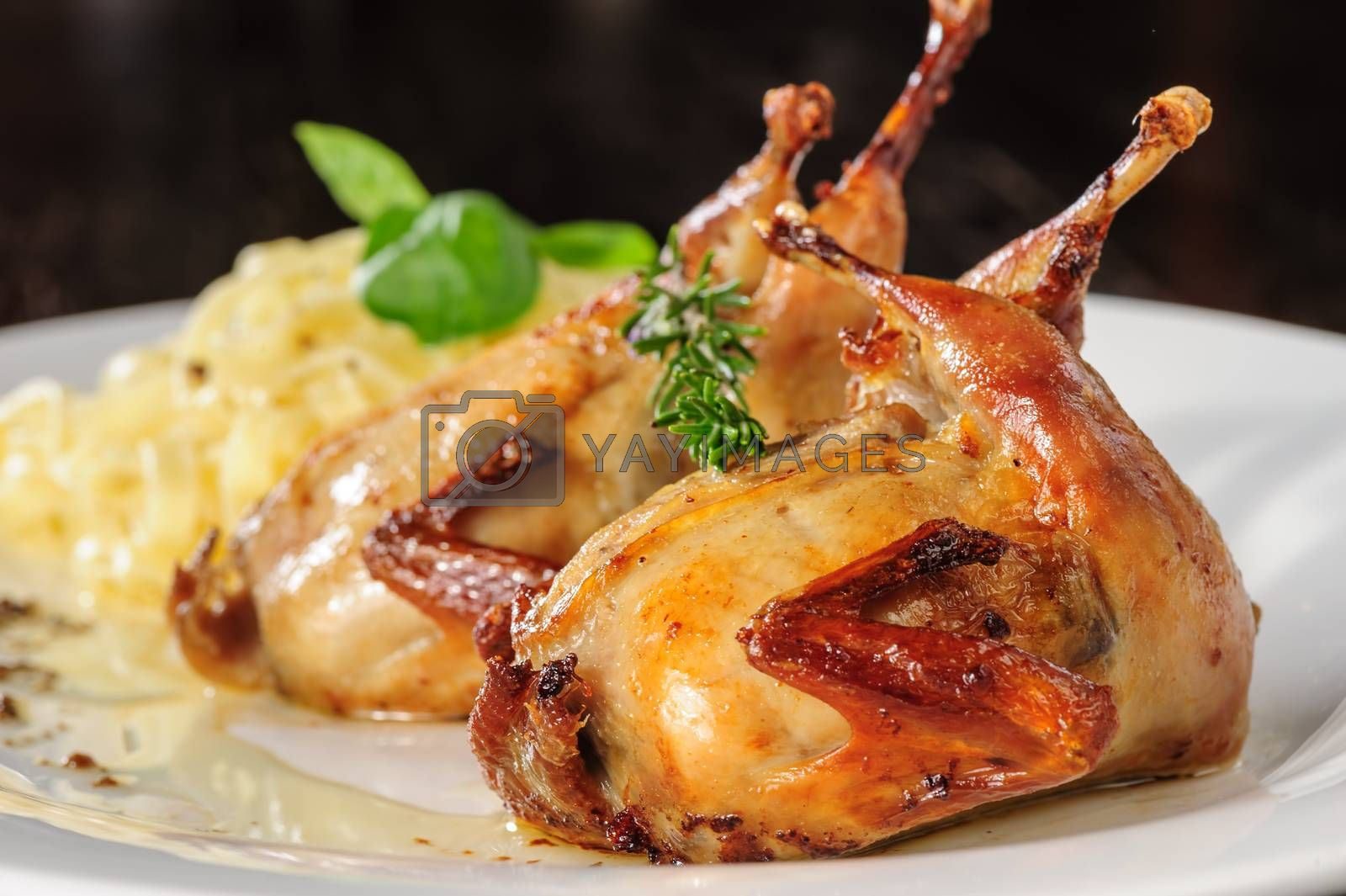 Roasted or fried whole quails with herbs and tagliatelle at white plate on wooden table