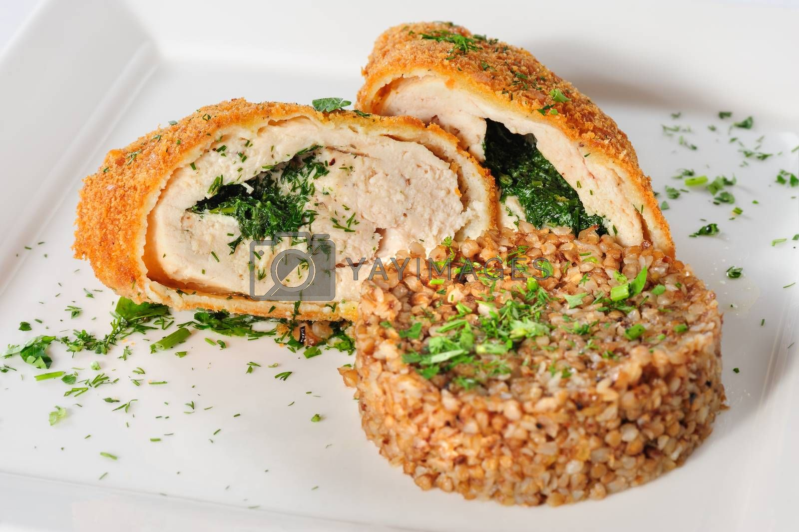 Big cutlet of turkey meat with garnish made of buckwheat cereal