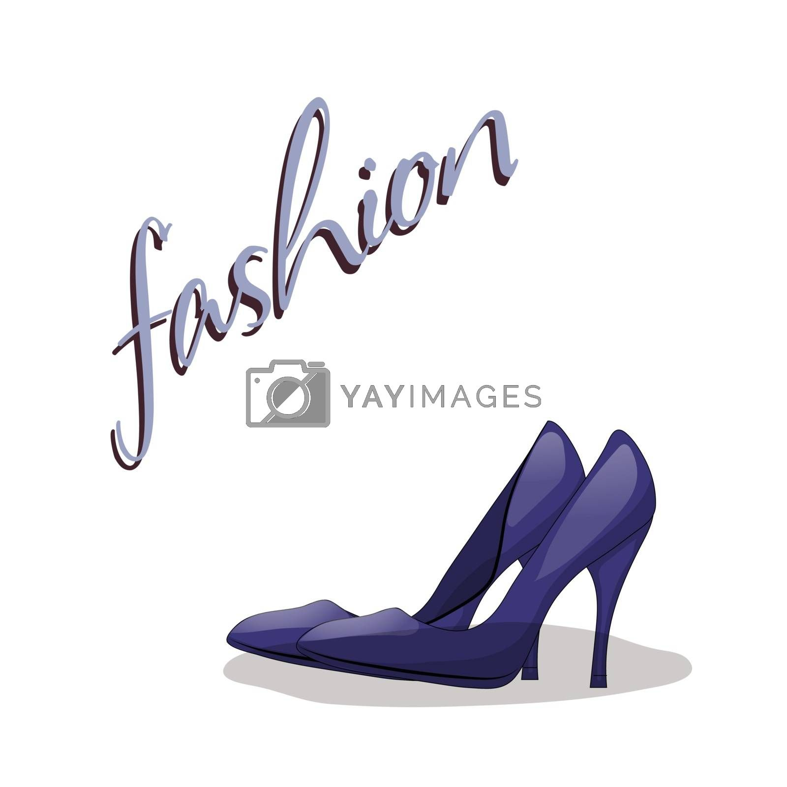 Fashionable woman s shoes blue color and fashion handwritten sing. Vector design elements isolated on white