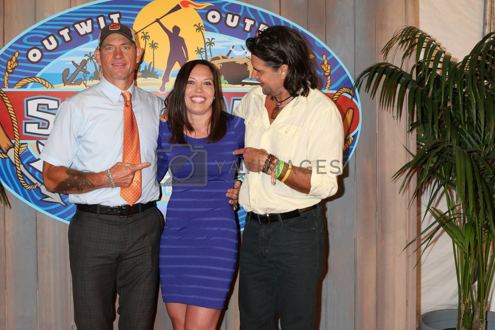 "Brad Culpepper, Sarah Lacina, Troyzan Robertson at the ""Survivor: Game Changers - Mamanuca Islands"" Finale, CBS Studio Center, Studio City, CA 05-24-17"
