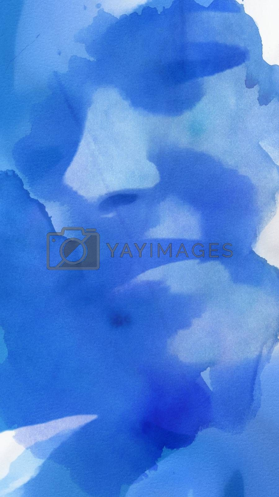 Blue Abstract Painting Of Teenage Girl