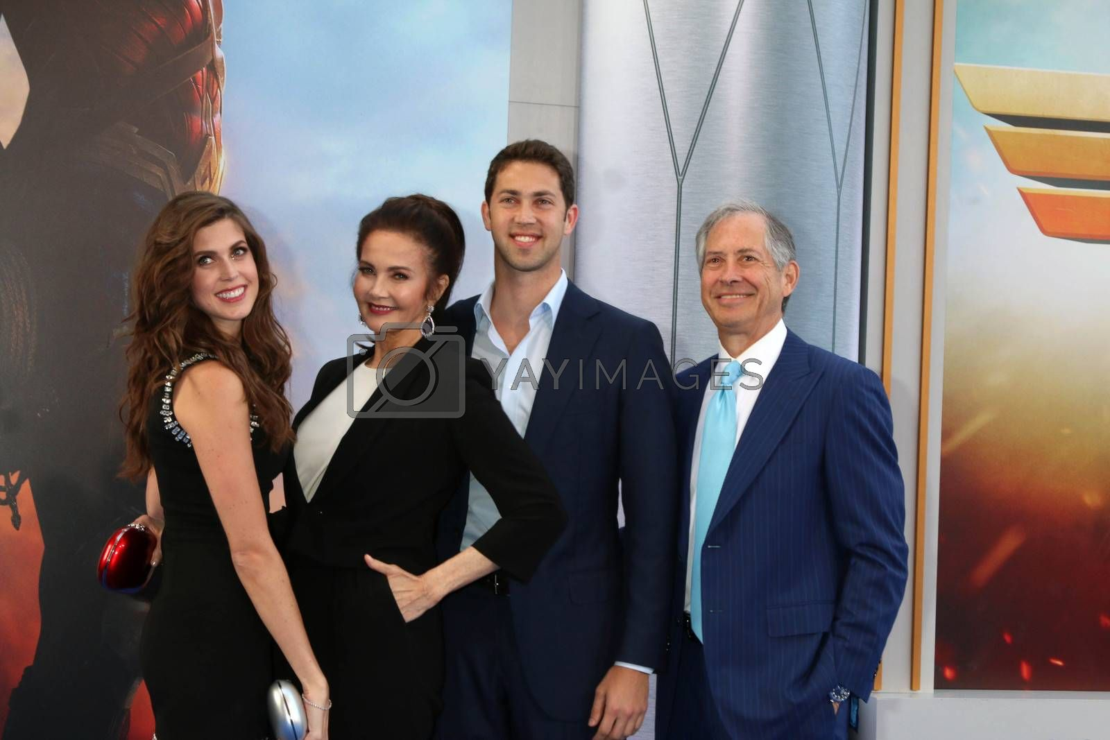"Jessica Altman, Lynda Carter, James Altman, Robert A Altman at the ""Wonder Woman"" Premiere, Pantages, Hollywood, CA 05-25-17"