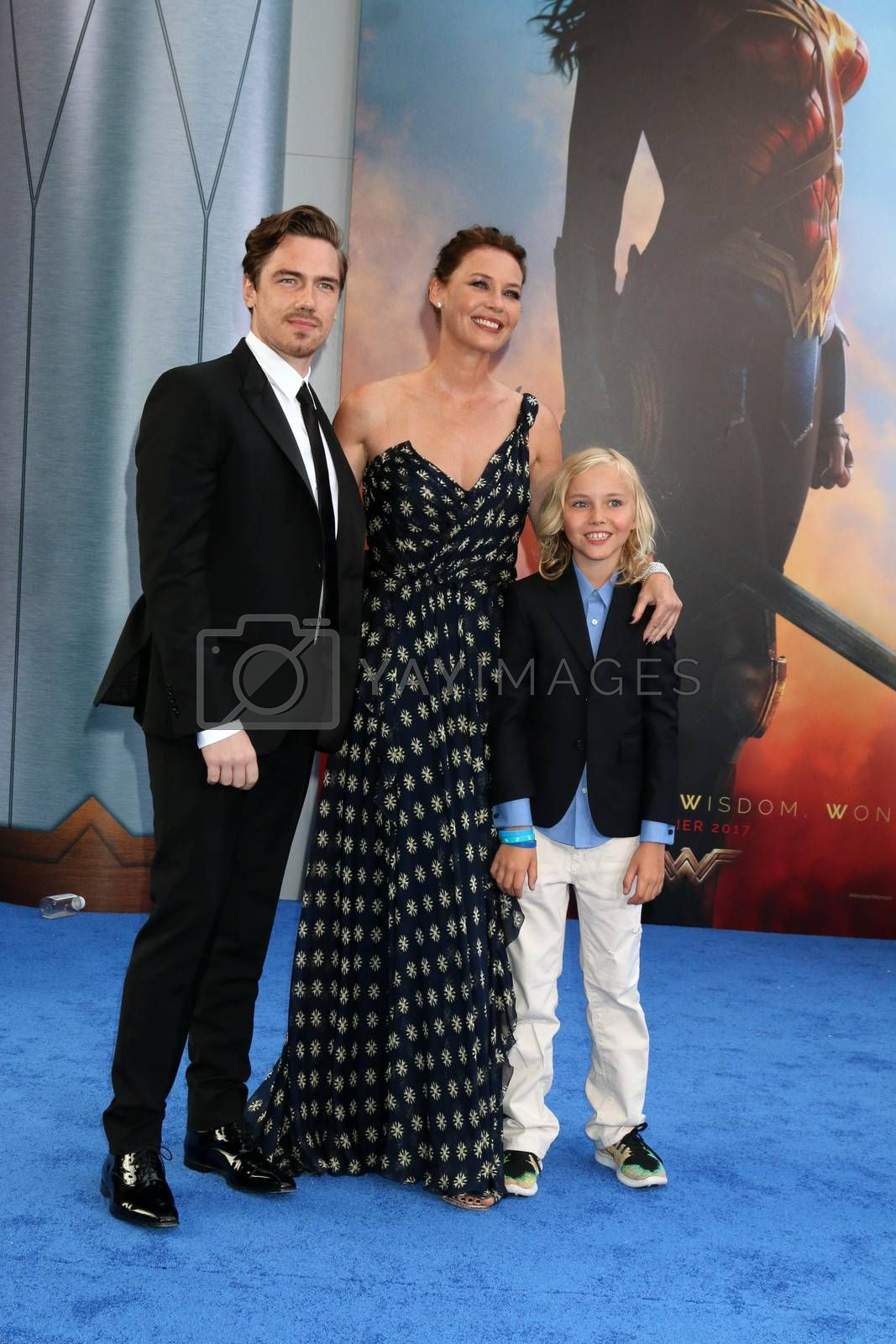 """Royalty free image of Sebastian Sartor, Connie Nielsen, Bryce Thadeus Ulrich-Nielsen at the """"Wonder Woman"""" Premiere, Pantages, Hollywood, CA 05-25-17/ImageCollect by ImageCollect"""